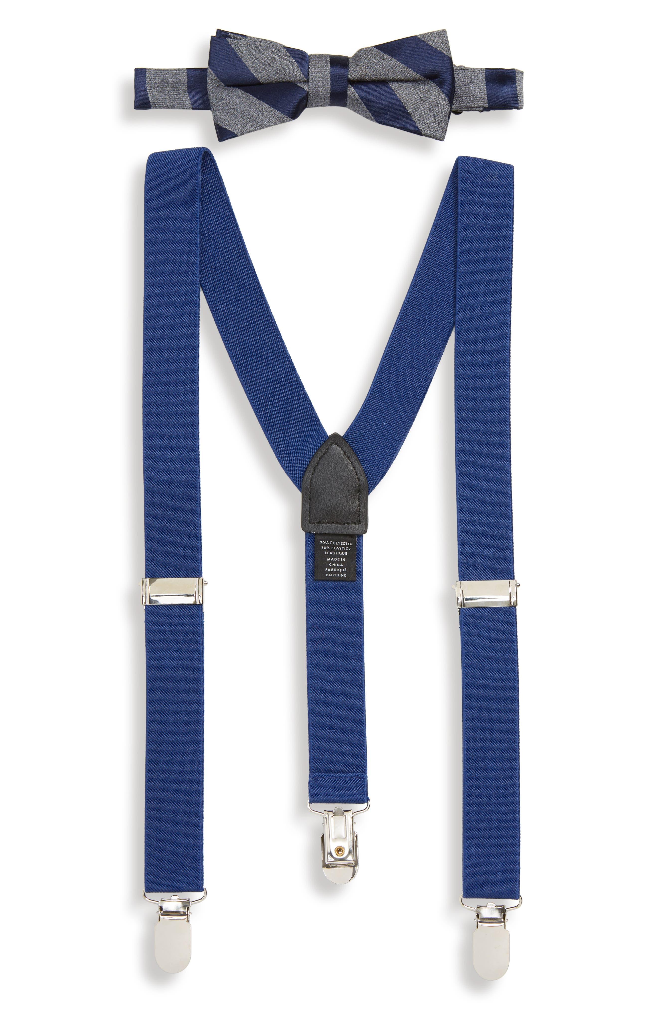 Stripe Bow Tie & Suspender Set,                             Main thumbnail 1, color,                             400