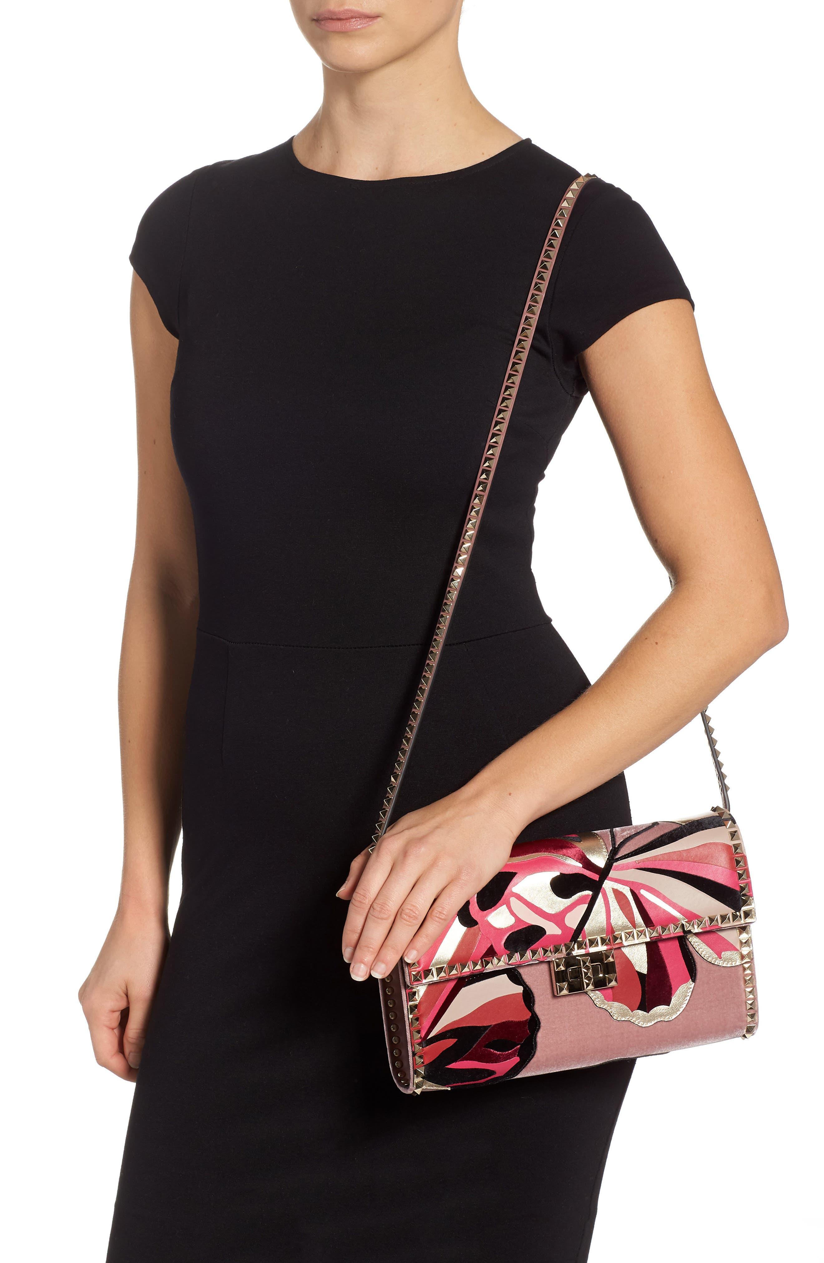 VALENTINO GARAVANI,                             Patchwork Butterfly Leather & Textile Shoulder Bag,                             Alternate thumbnail 2, color,                             LIP