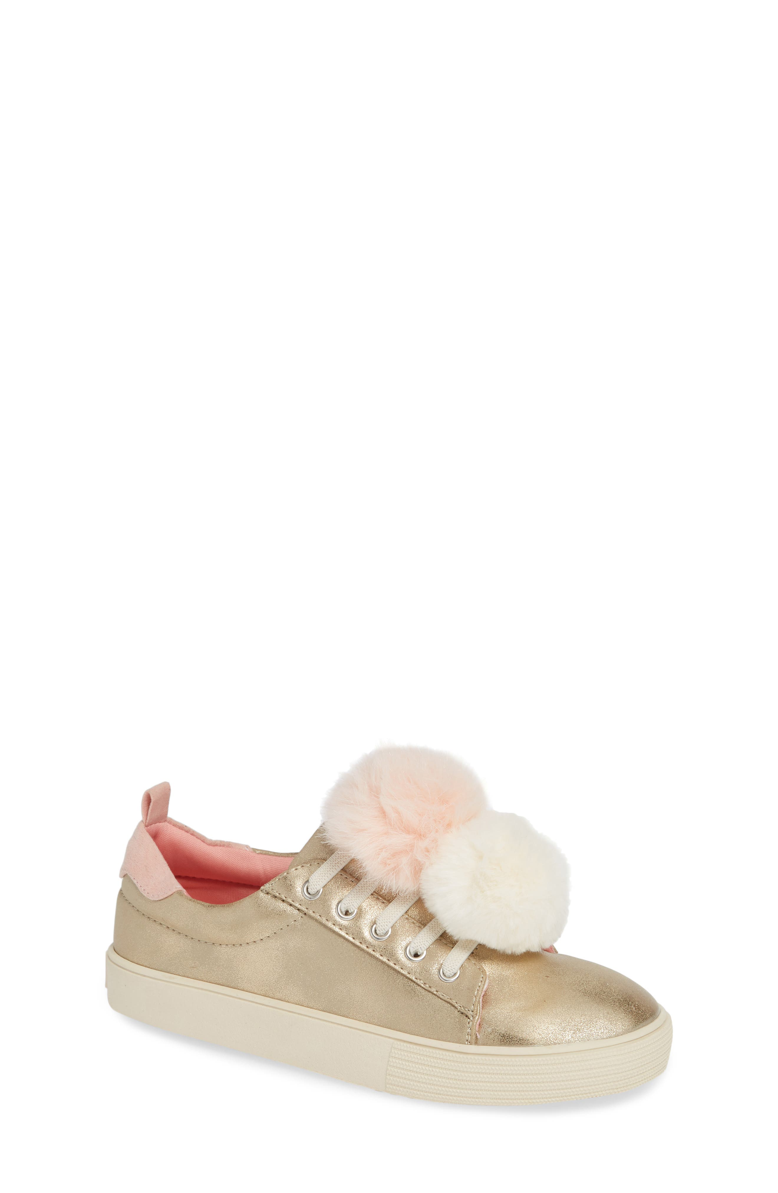 Millie Metallic Pom Sneaker,                             Main thumbnail 1, color,                             GOLD METALLIC FAUX LEATHER