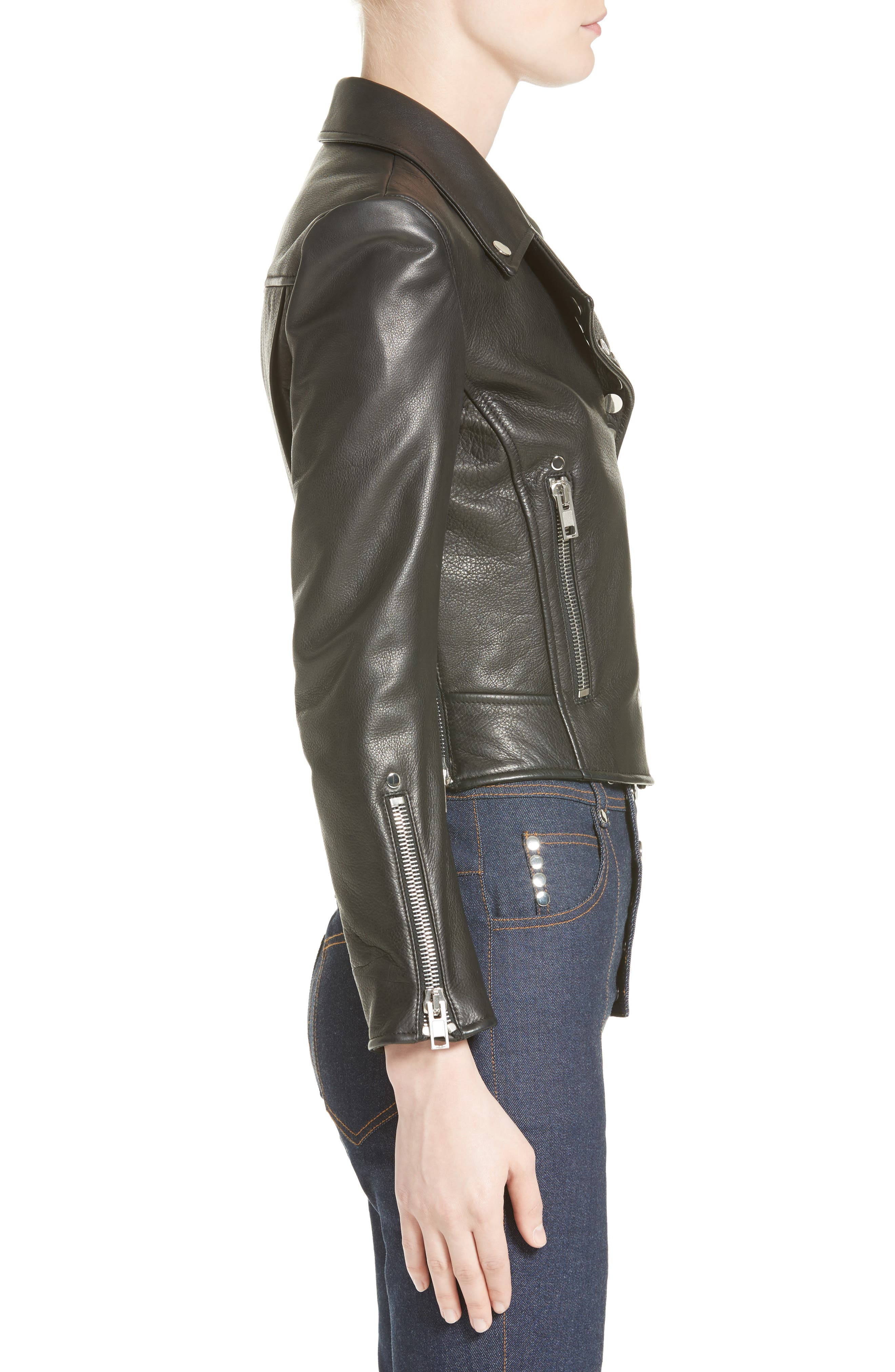 Snap Leather Moto Jacket,                             Alternate thumbnail 3, color,                             001