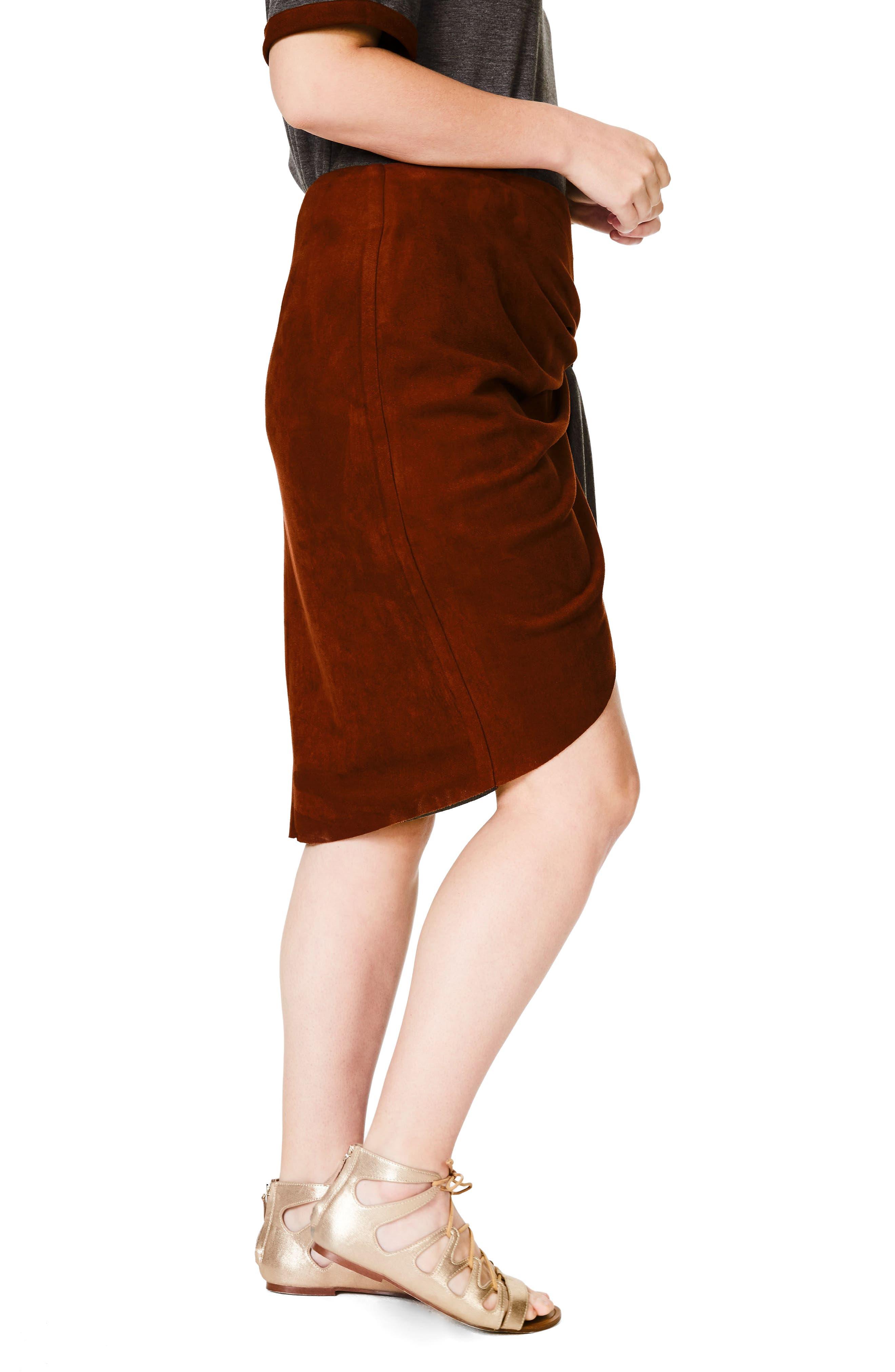 Faux Suede Skirt,                             Alternate thumbnail 3, color,                             600