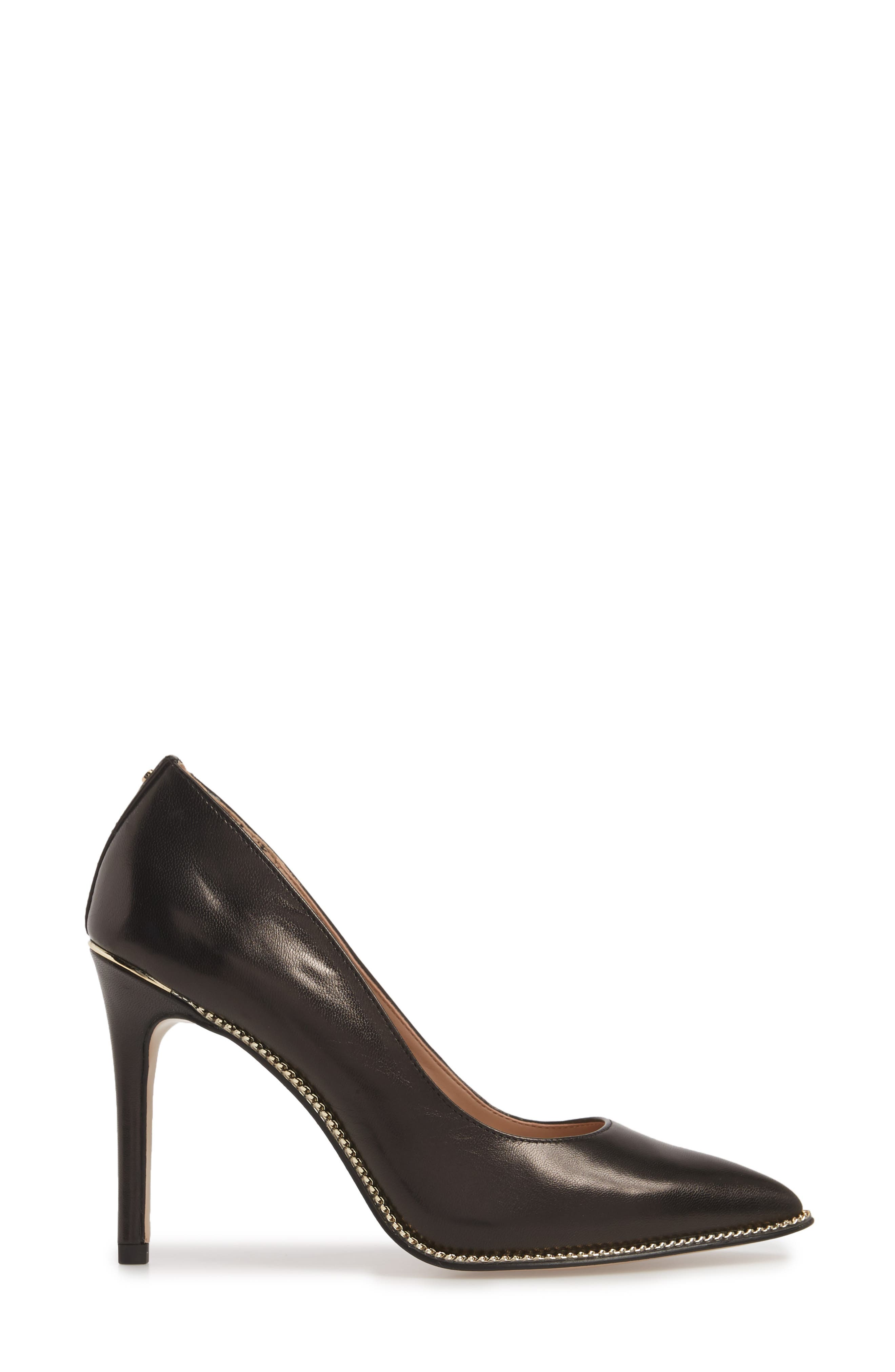 Harleigh Pointy Toe Pump,                             Alternate thumbnail 3, color,                             BLACK LEATHER
