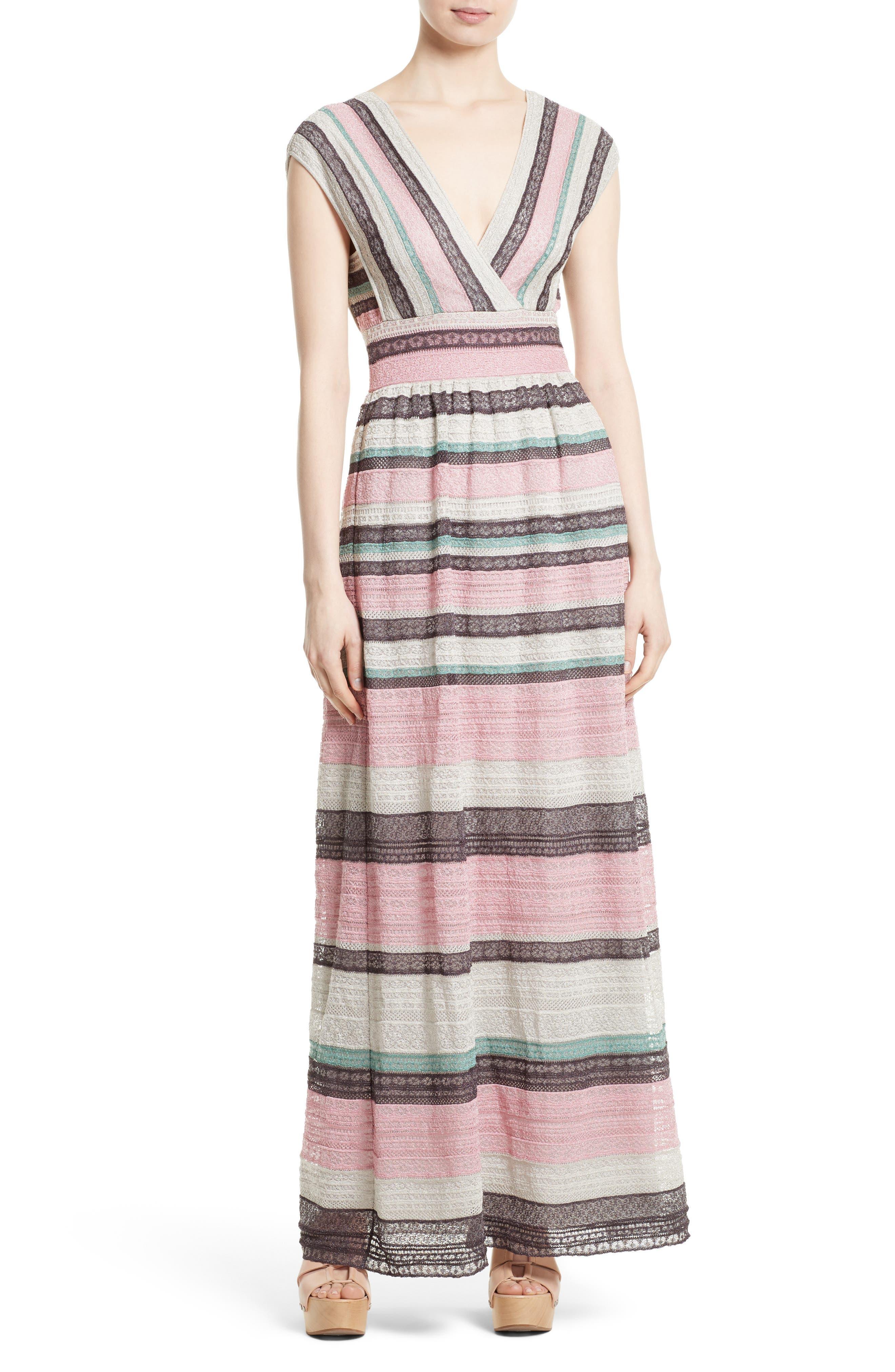 Lace Stripe Maxi Dress,                         Main,                         color, 664
