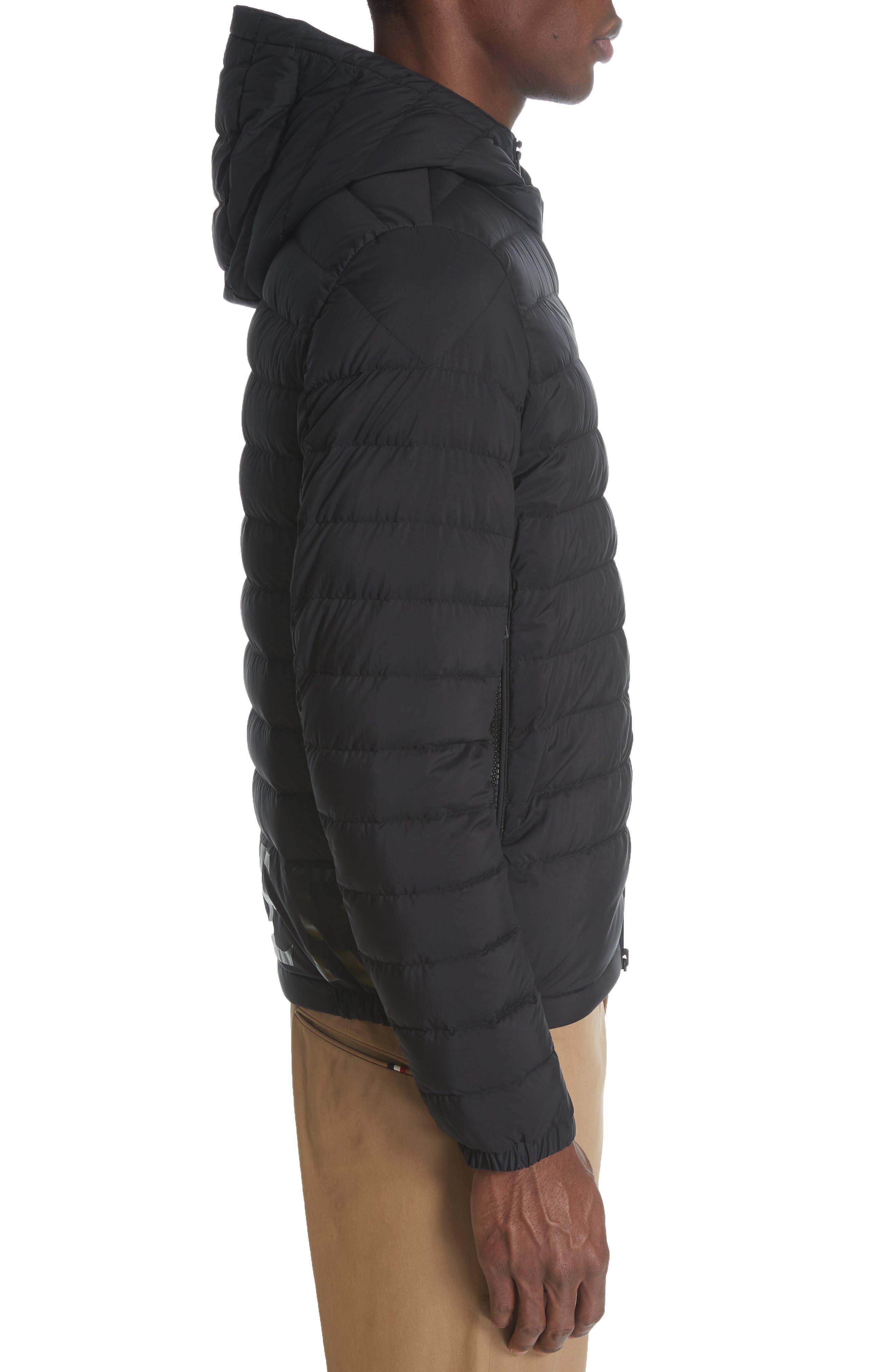 MONCLER,                             Dreux Hooded Down Jacket,                             Alternate thumbnail 3, color,                             BLACK