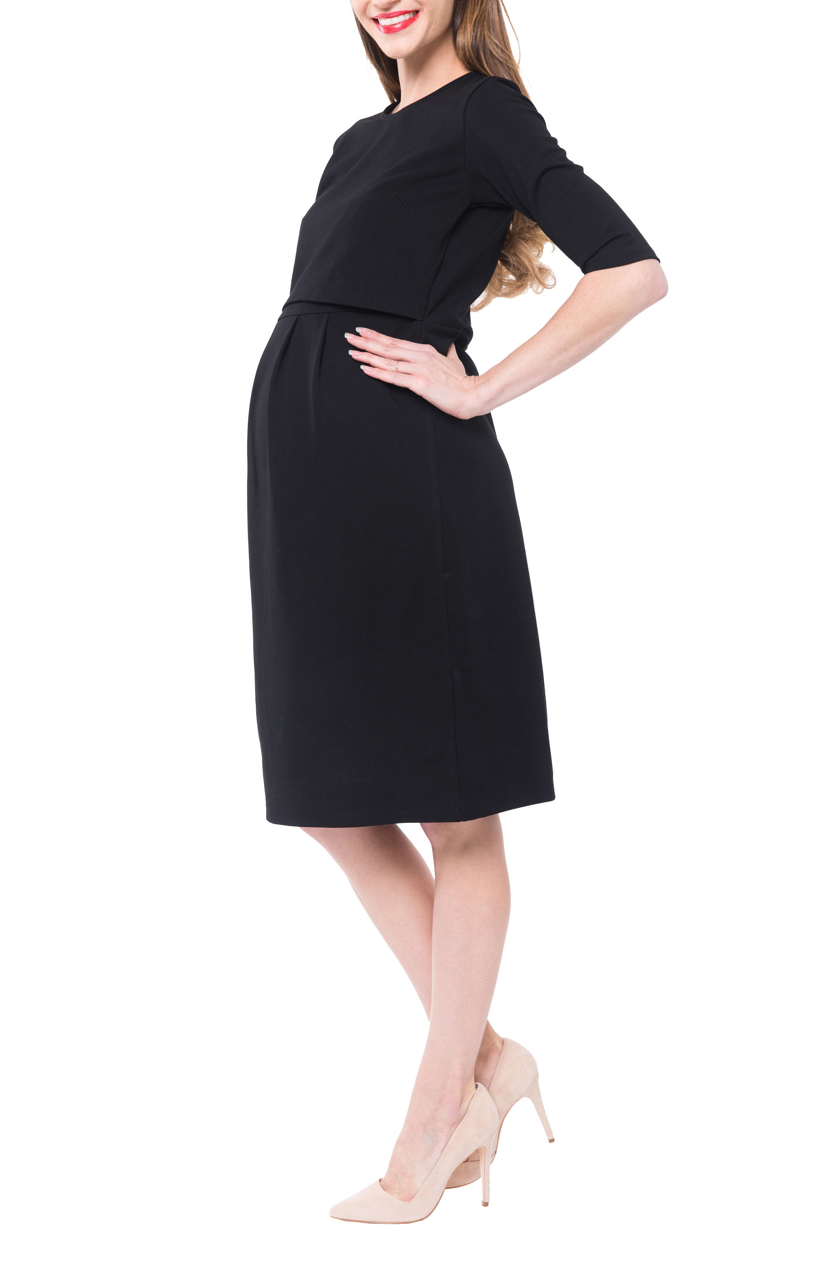 Valentina Ponté Knit Maternity/Nursing Dress,                             Alternate thumbnail 3, color,                             BLACK