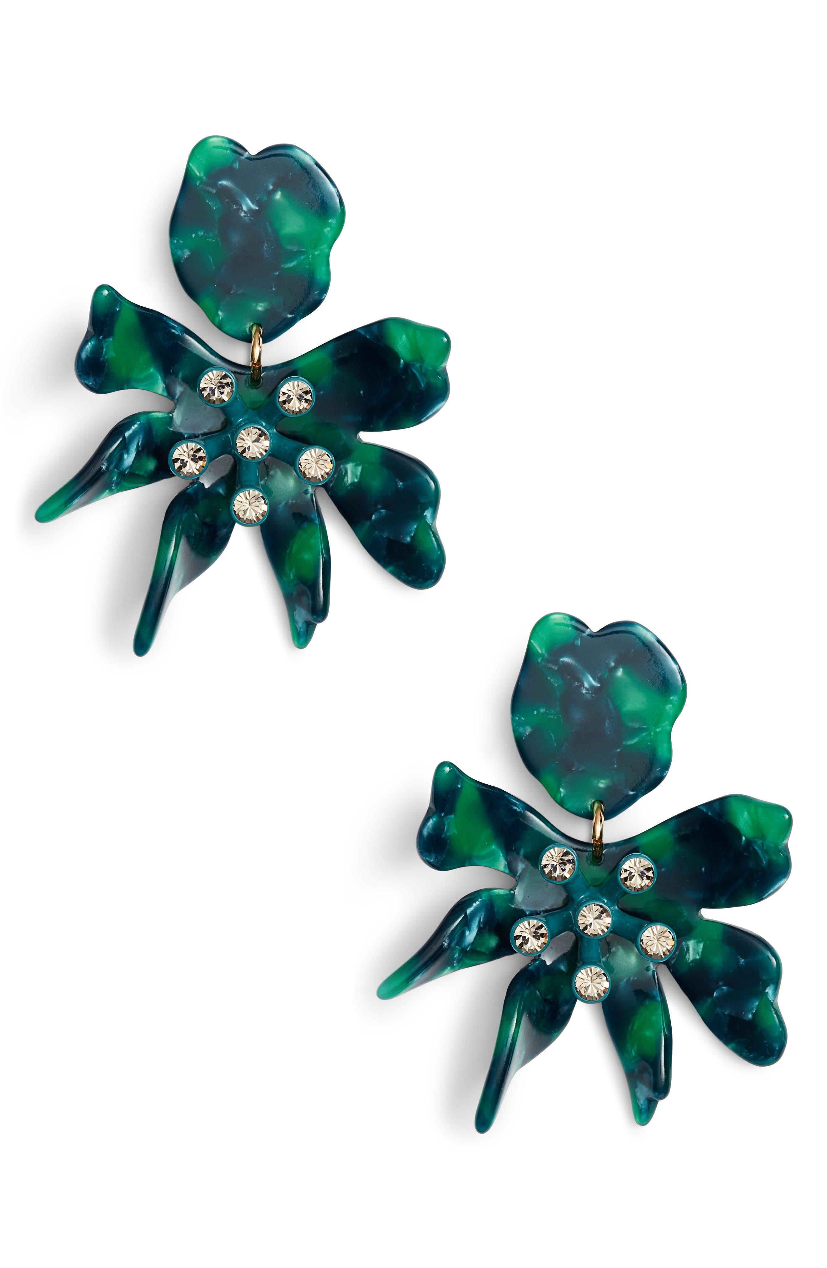 Daffodil Clip Drop Earrings,                         Main,                         color, EMERALD