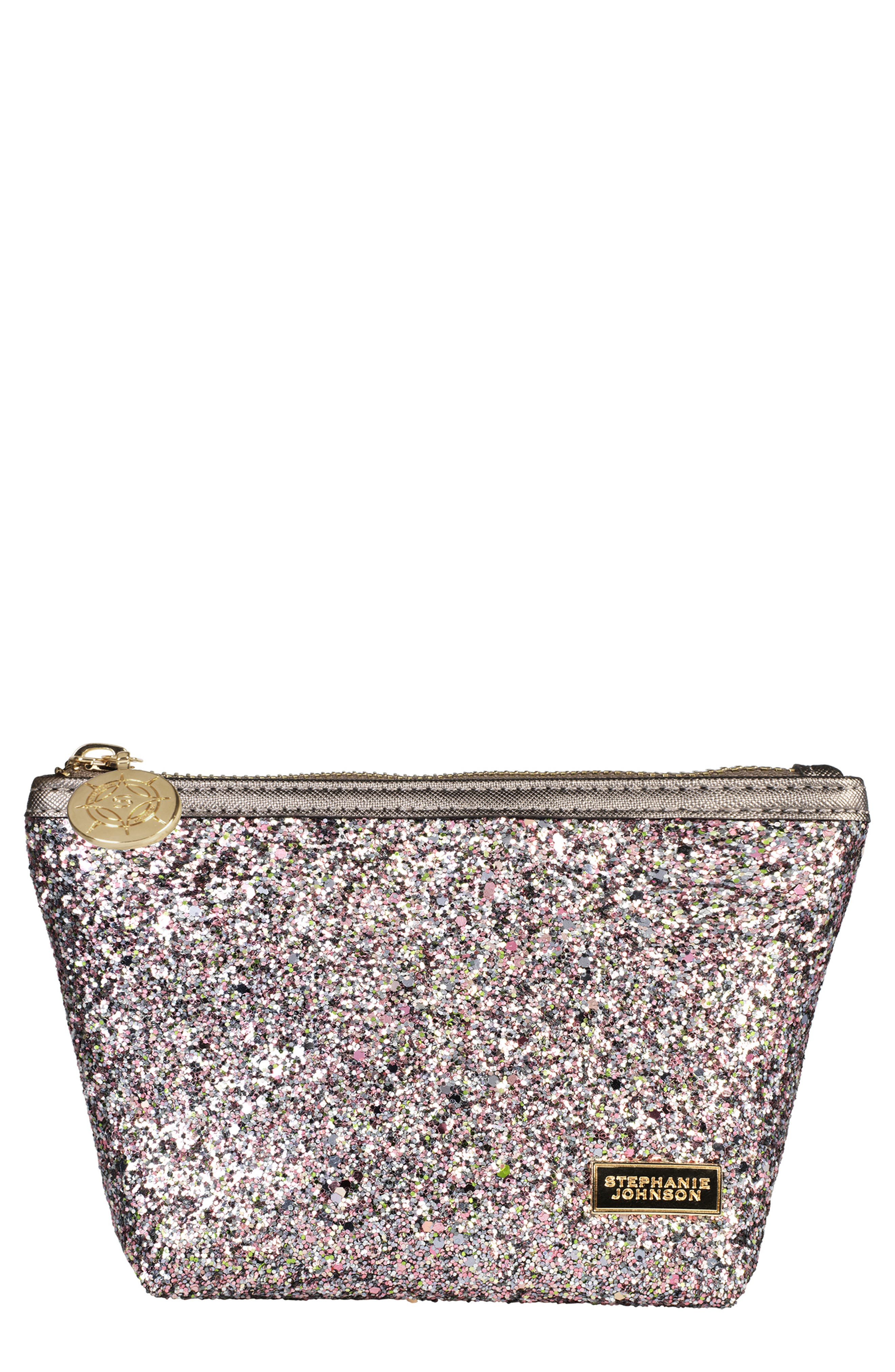 Laura Small Trapezoid Cosmetics Case in Hollywood Pink