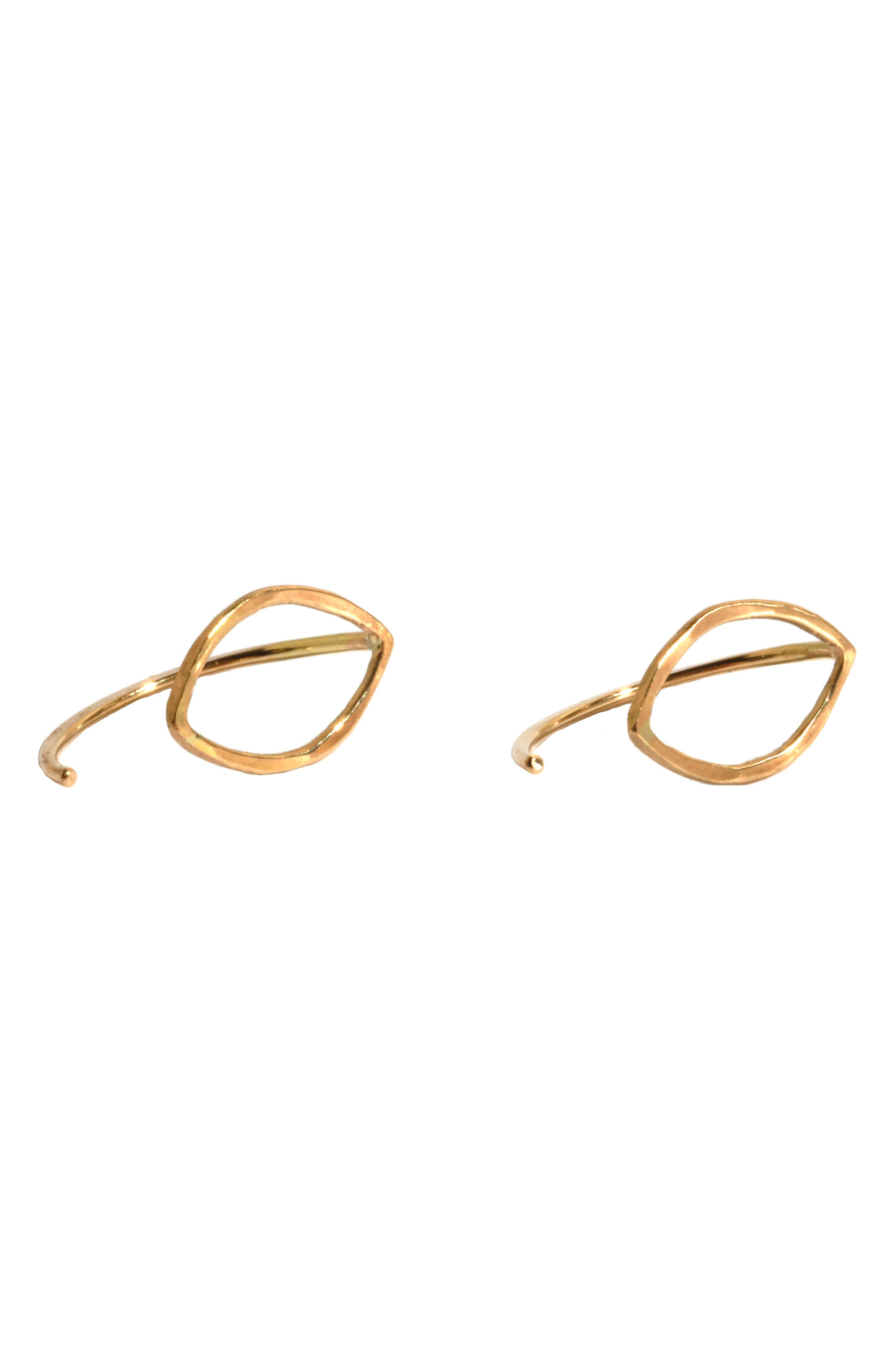 Small Oval Threader Stud Earrings,                             Main thumbnail 1, color,                             YELLOW GOLD