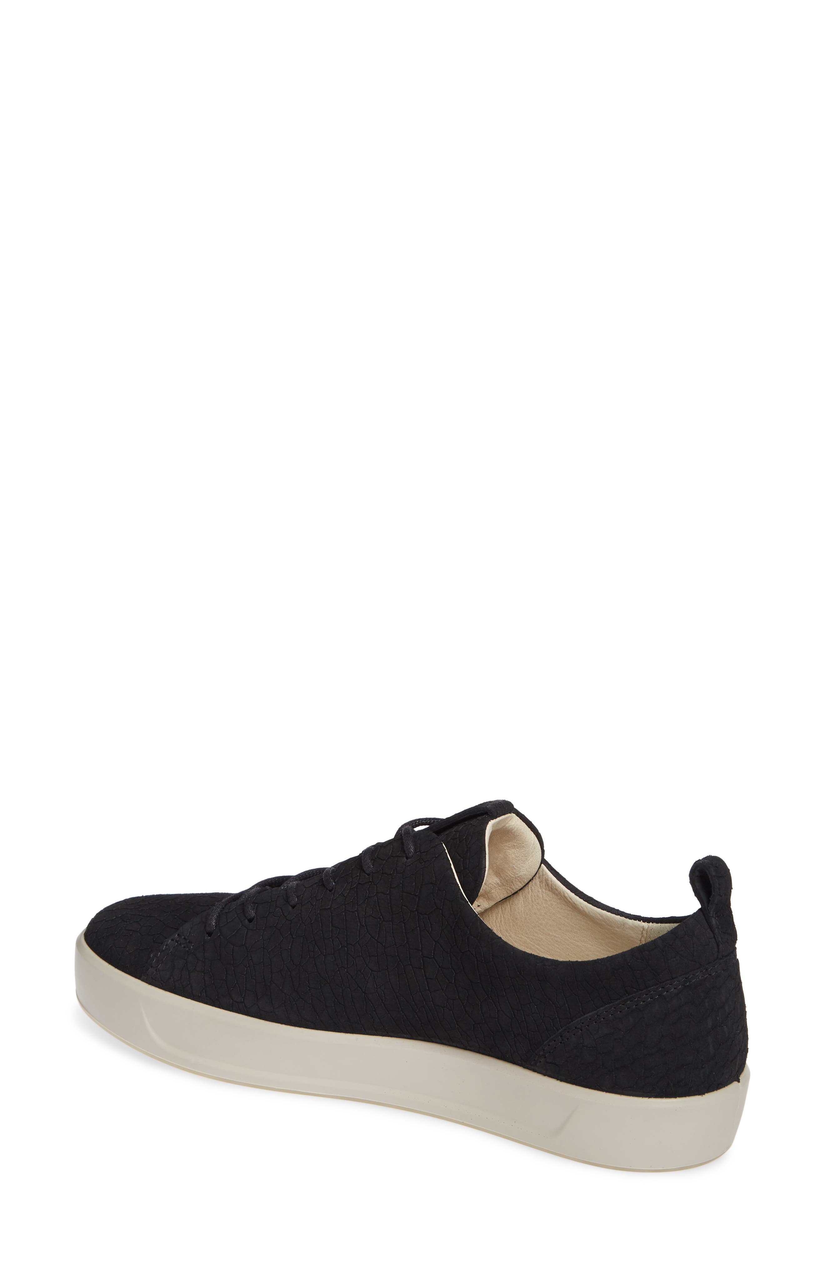 Soft 8 Sneaker,                             Alternate thumbnail 2, color,                             BLACK CRACKLED LEATHER