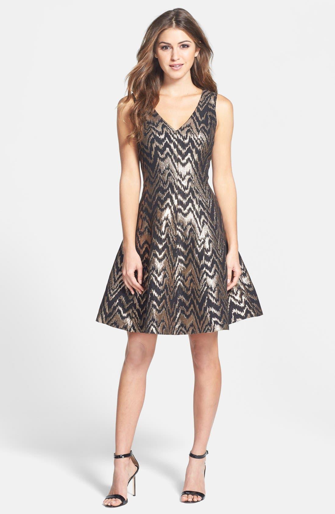 VINCE CAMUTO,                             Metallic Jacquard Fit & Flare Dress,                             Alternate thumbnail 2, color,                             226
