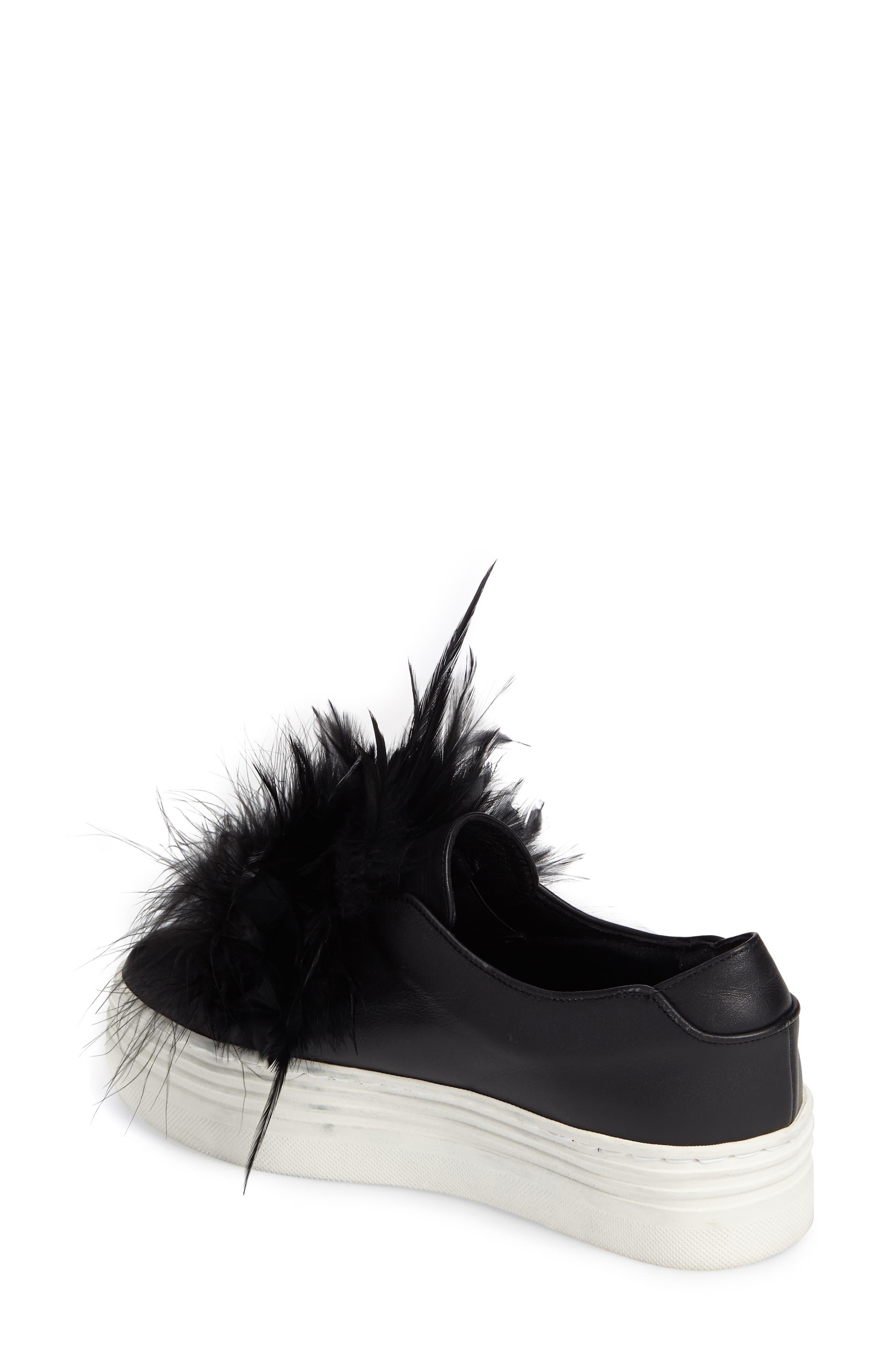 Lily Feather Pom Slip-On Platform Sneaker,                             Alternate thumbnail 2, color,                             001