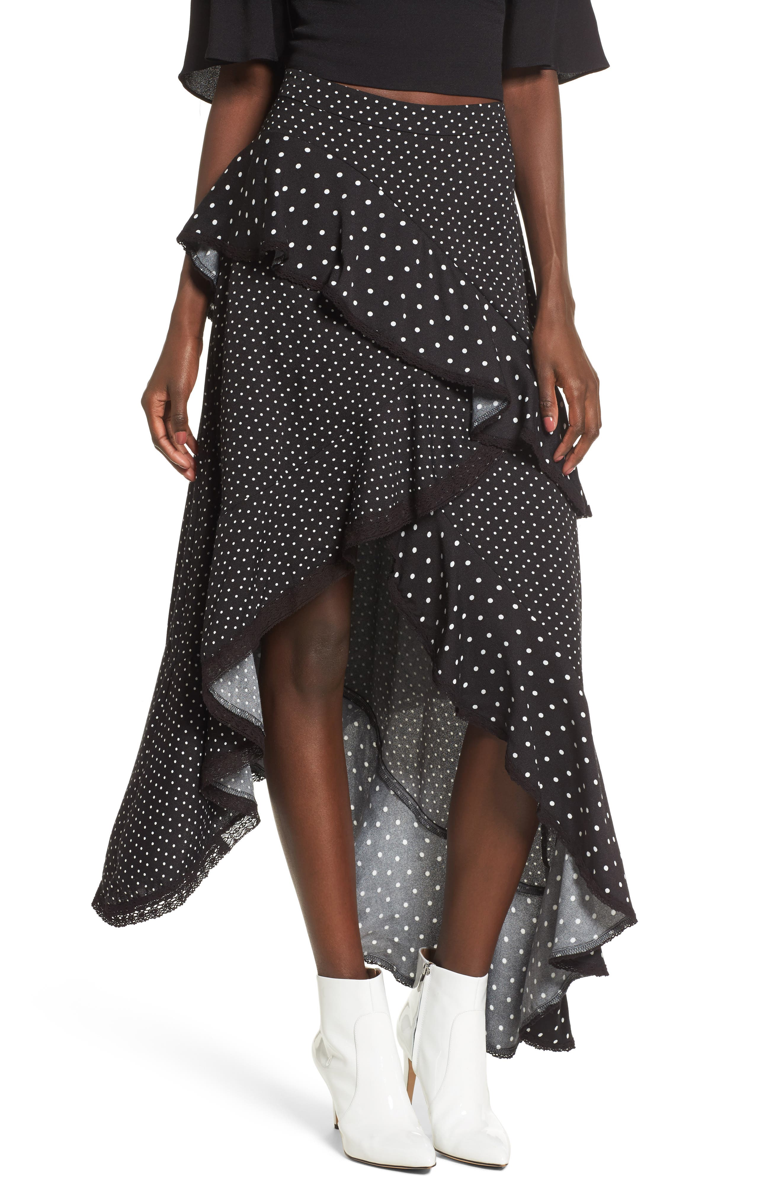 Grace Asymmetrical Ruffle Skirt,                             Main thumbnail 1, color,