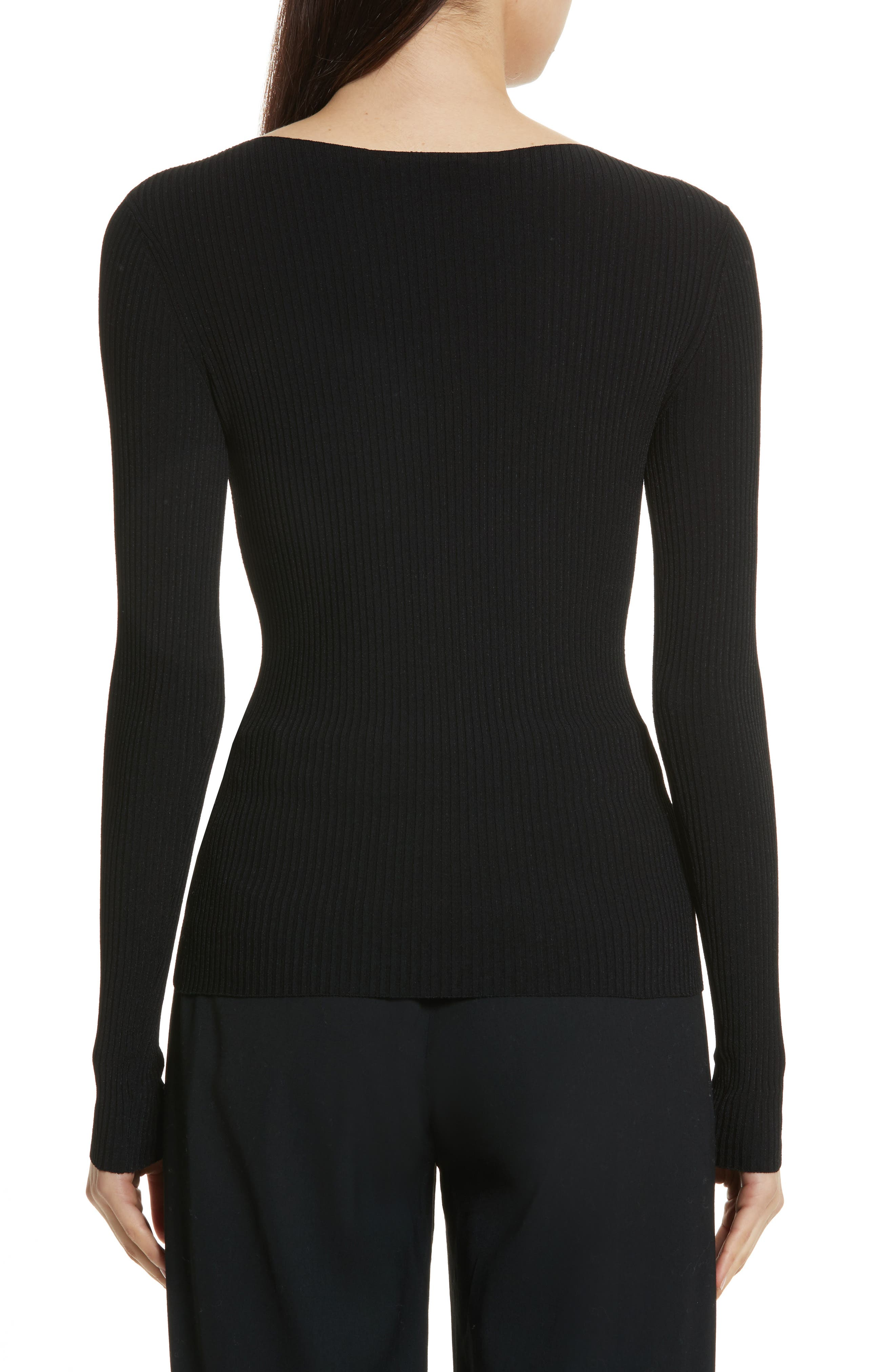 Boat Neck Ribbed Top,                             Alternate thumbnail 3, color,