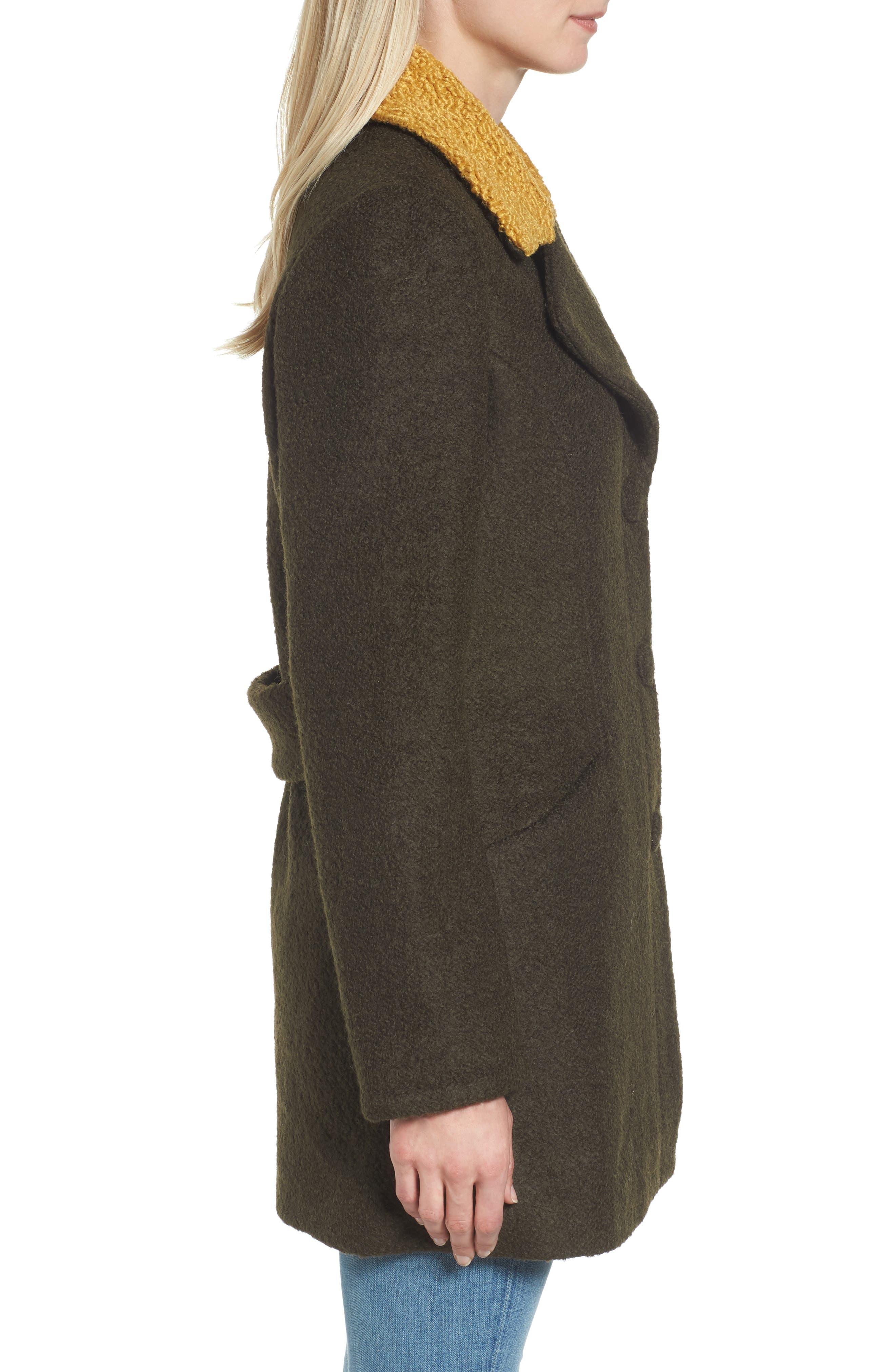 Contrast Collar Bouclé Coat,                             Alternate thumbnail 8, color,