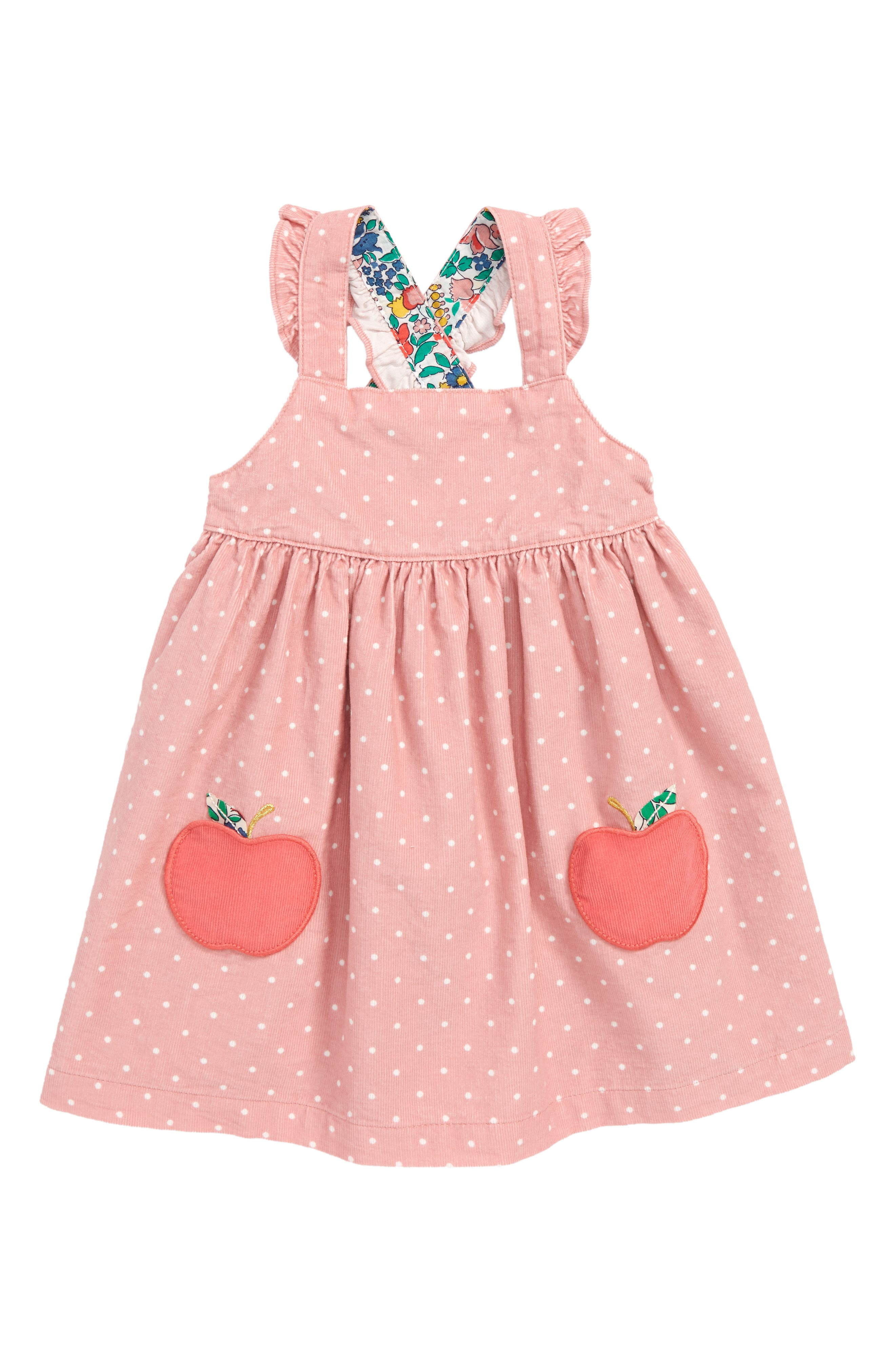 Appliqué Pinafore Dress,                         Main,                         color, ALMOND BLOSSOM/ APPLES