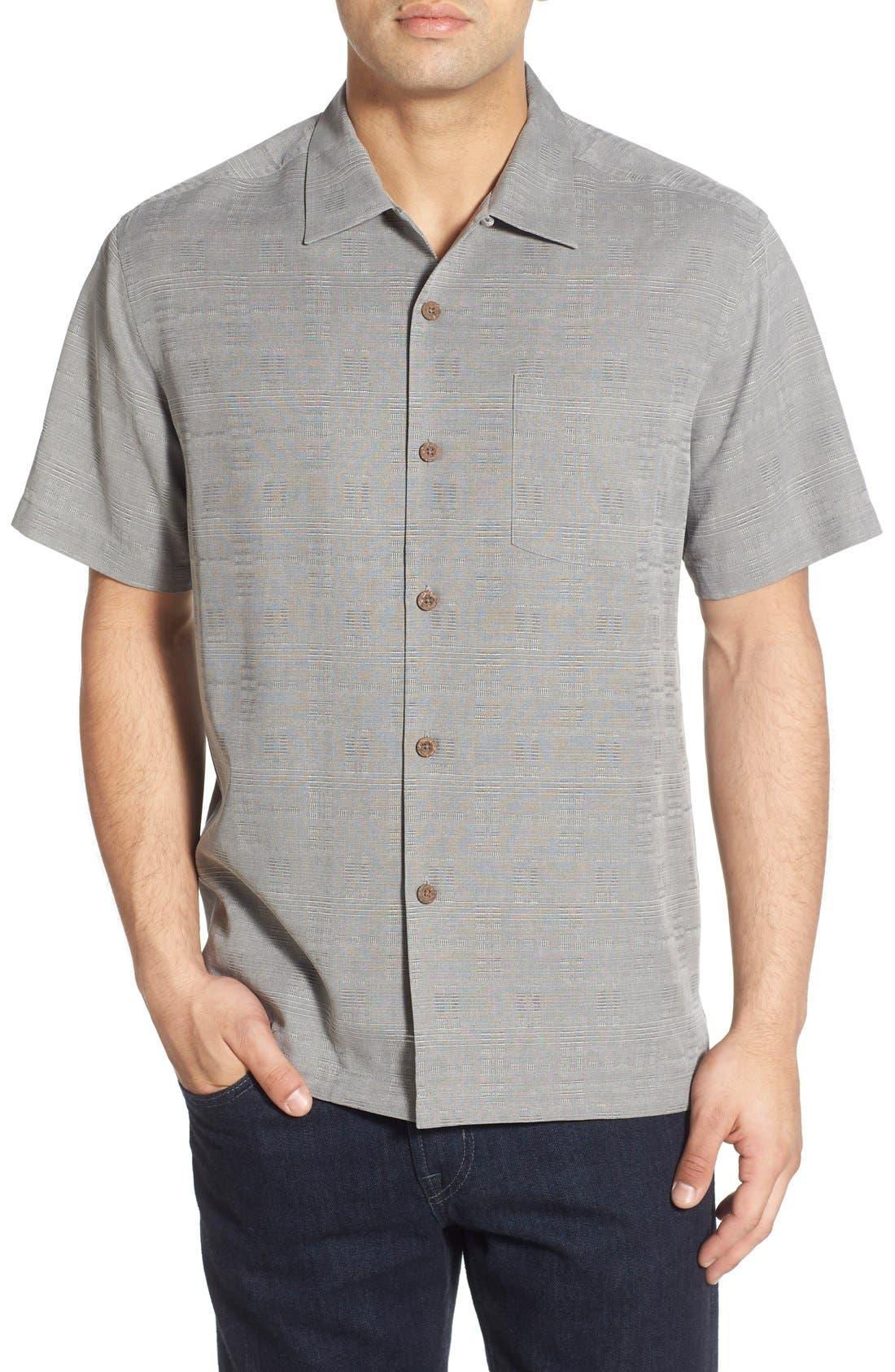 Original Fit Jacquard Silk Camp Shirt,                             Main thumbnail 1, color,