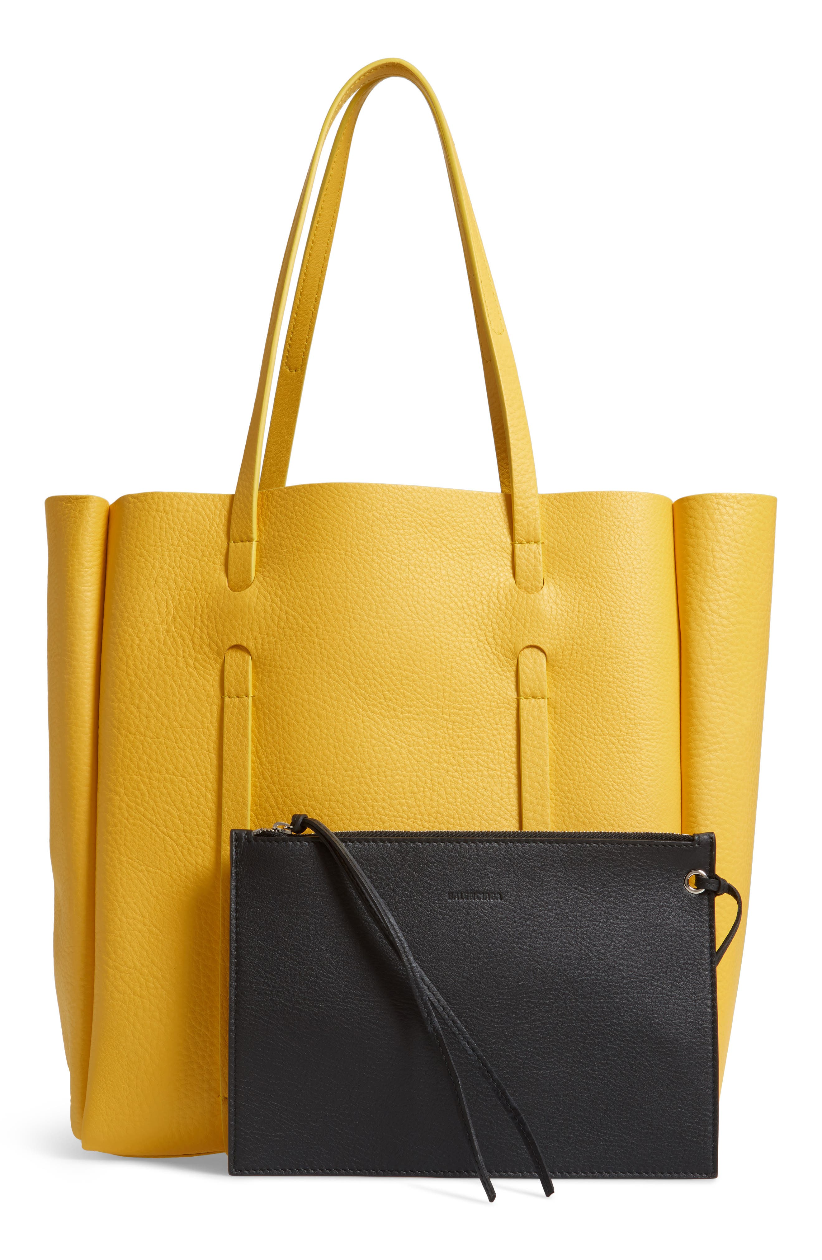 Small Everyday Calfskin Tote,                             Alternate thumbnail 3, color,                             YELLOW/ NOIR