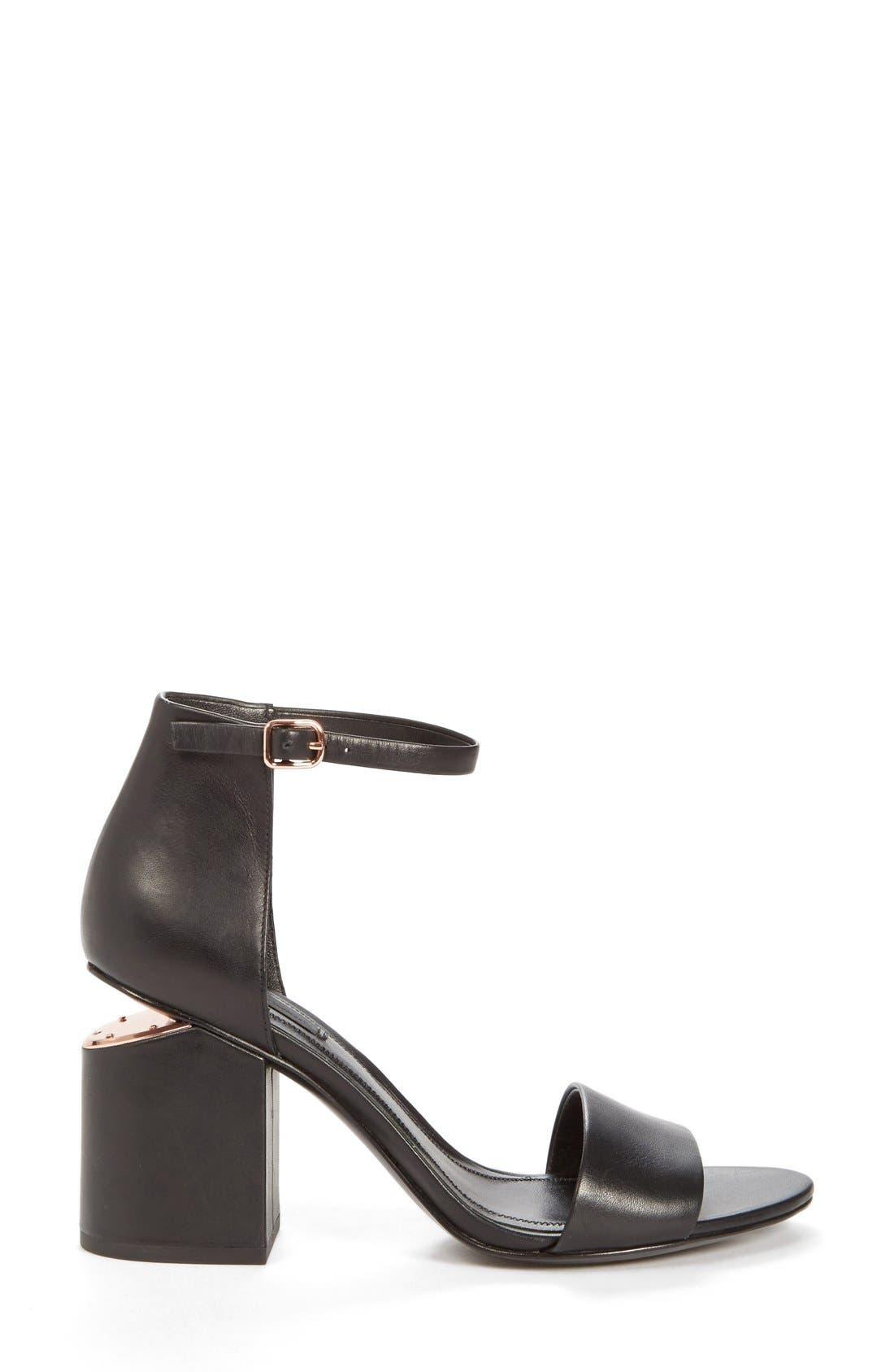 'Abby' Ankle Strap Sandal,                             Alternate thumbnail 2, color,                             BLACK/ ROSE GOLD
