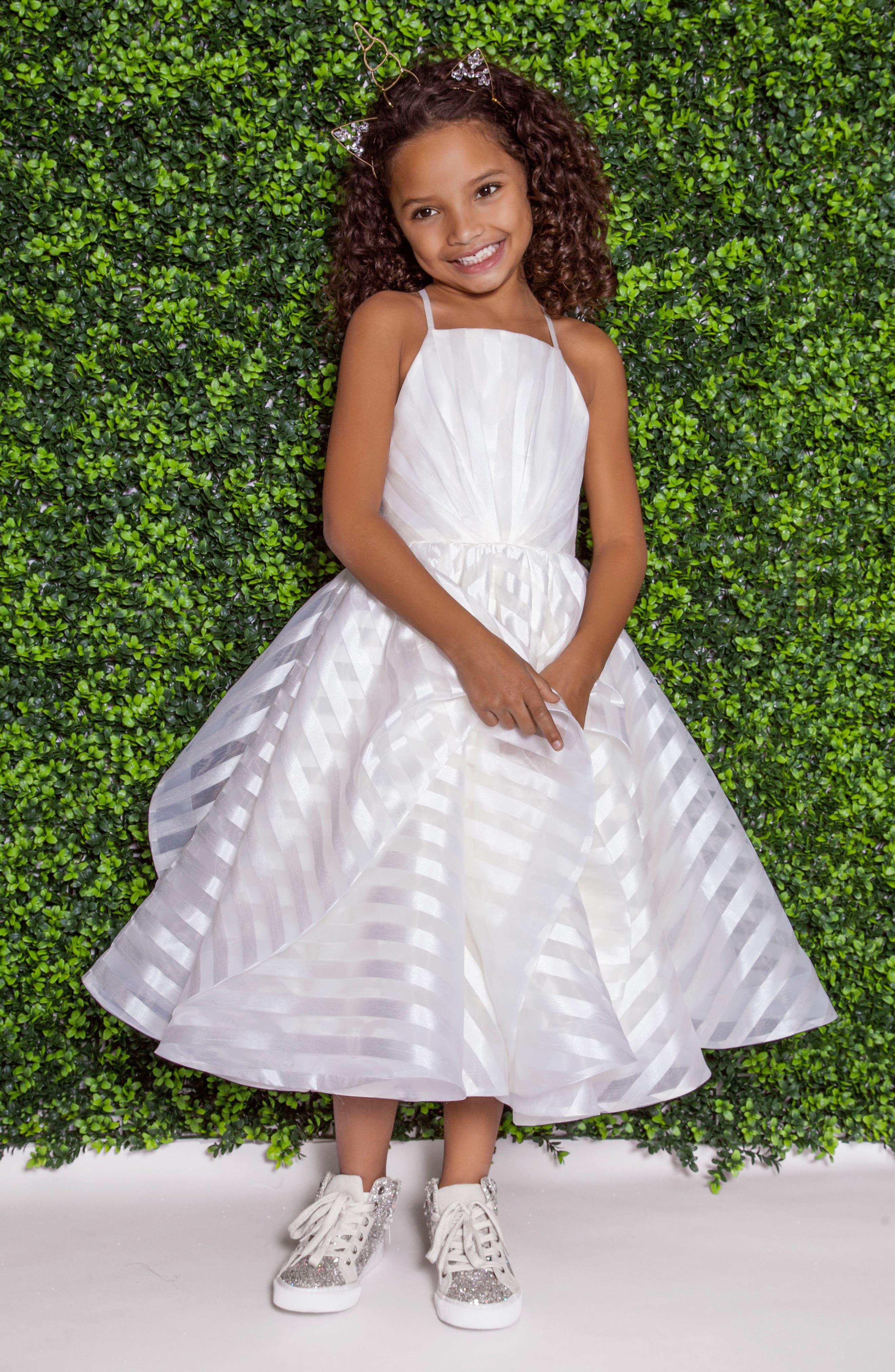 Zazie Stripe Organza Flower Girl Dress,                             Main thumbnail 1, color,                             IVORY