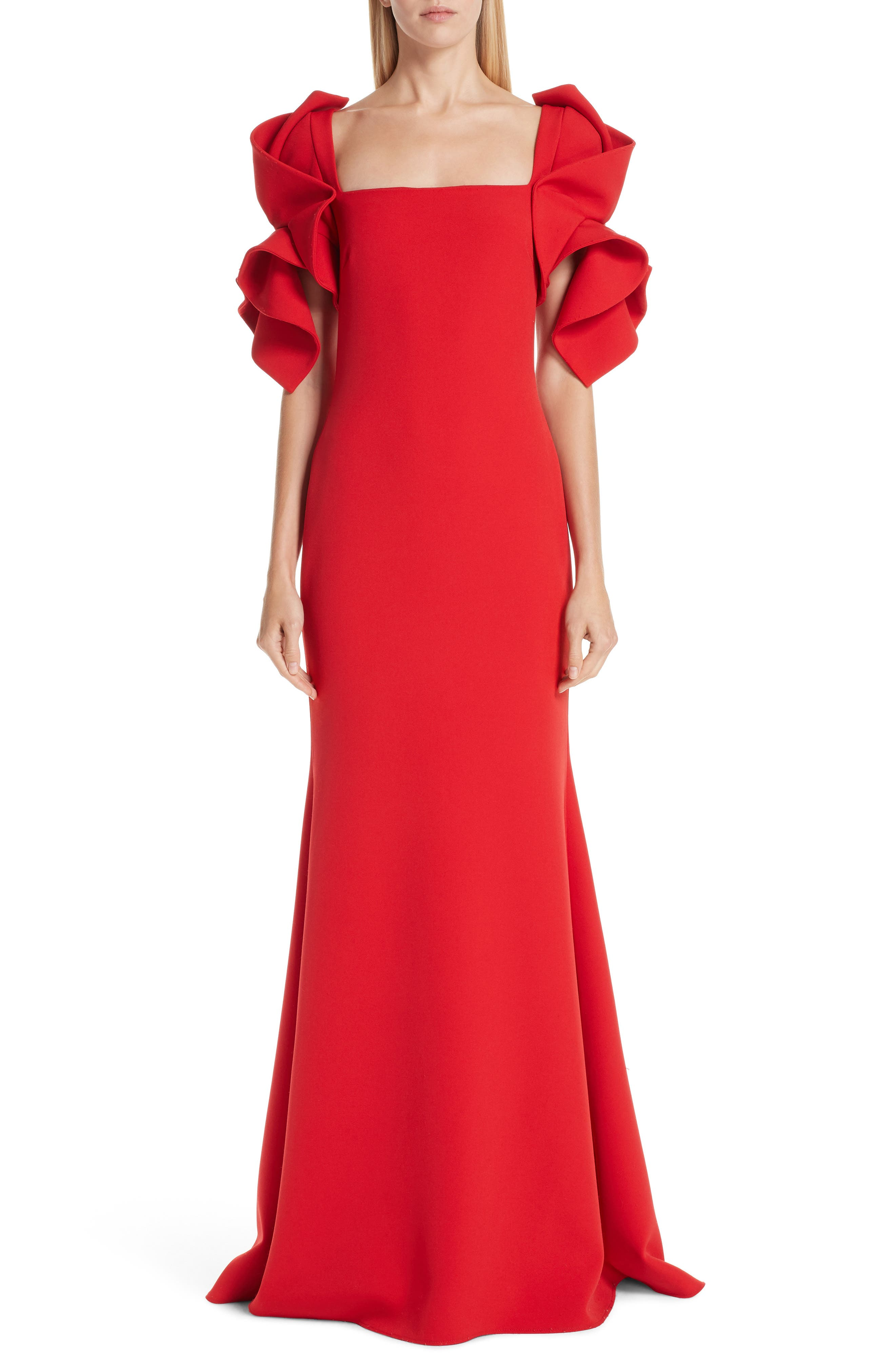 BADGLEY & MISCHKA Collection Ruffle Sleeve Evening Dress in Bright Red