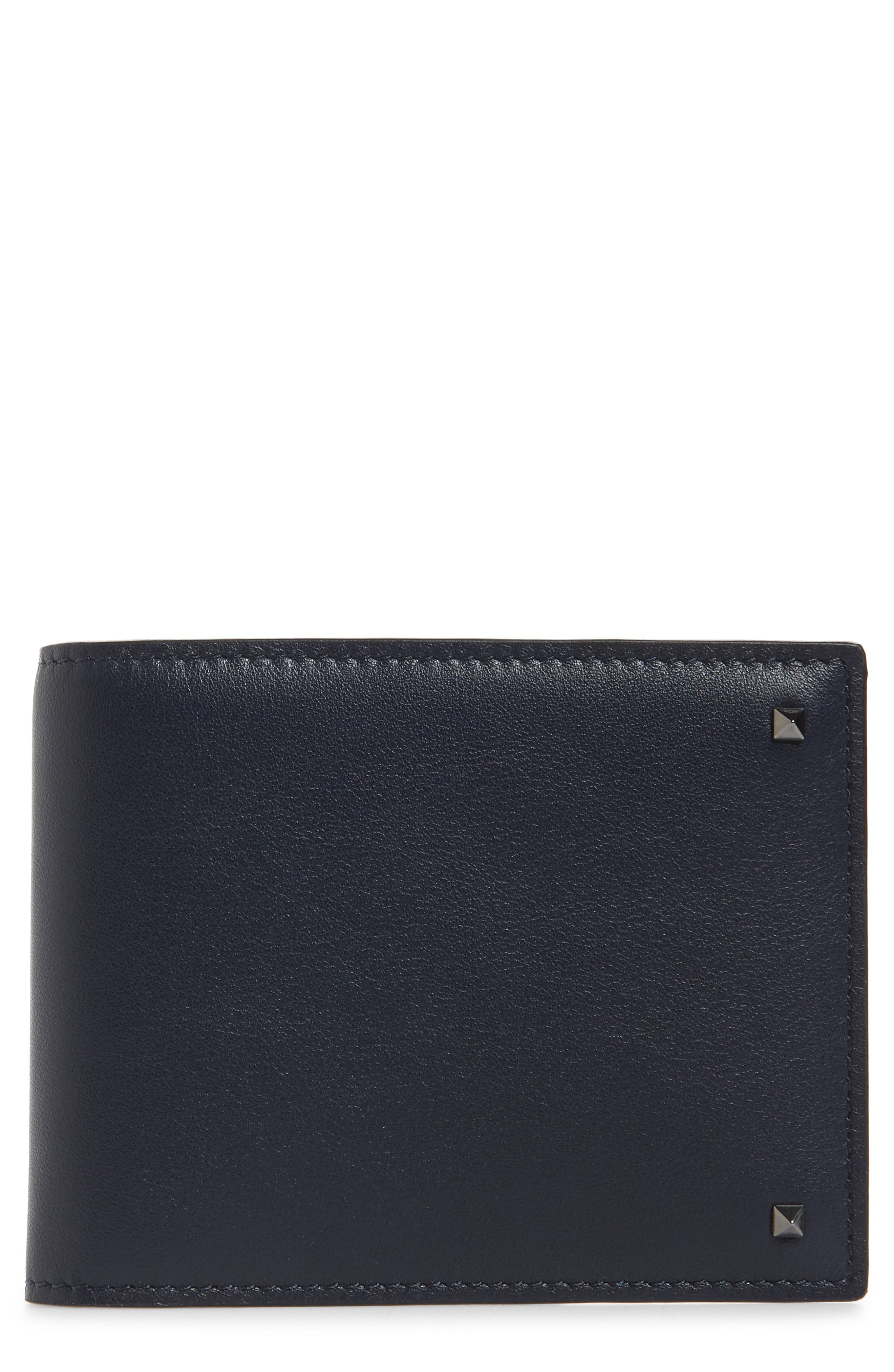 GARAVANI Stud Leather Money Clip Card Case,                             Main thumbnail 1, color,                             MARINE