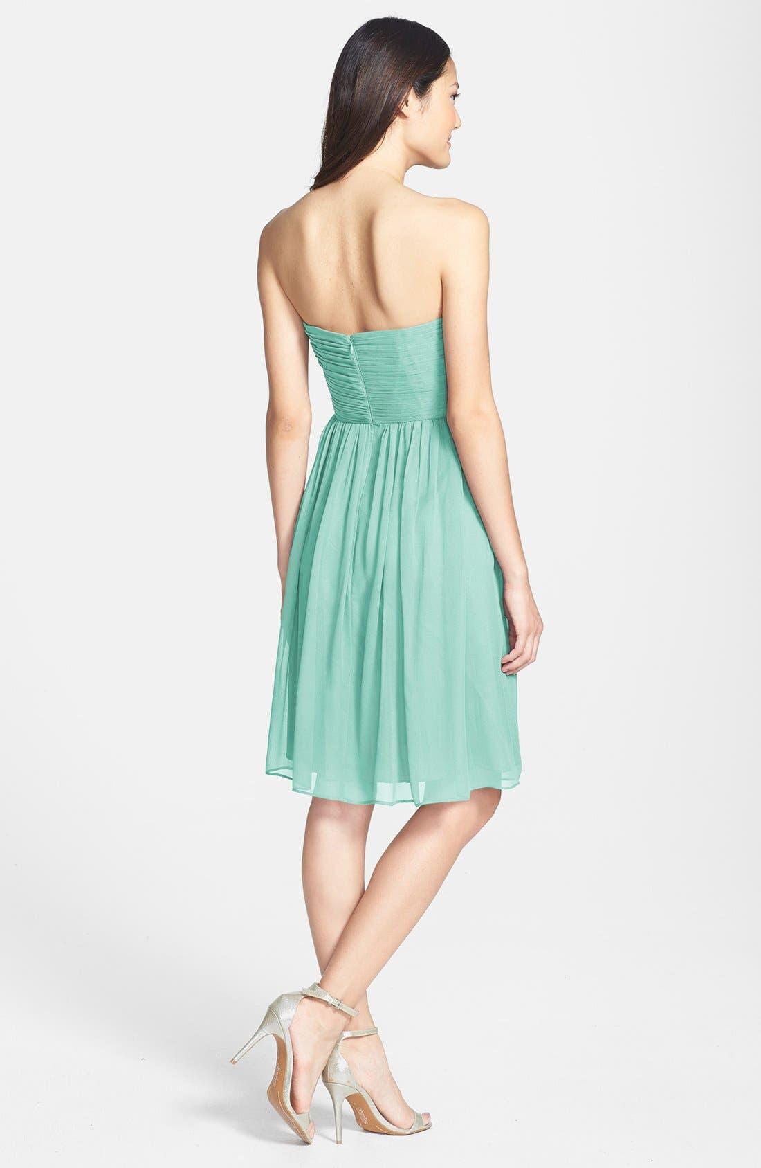 'Morgan' Strapless Silk Chiffon Dress,                             Main thumbnail 8, color,