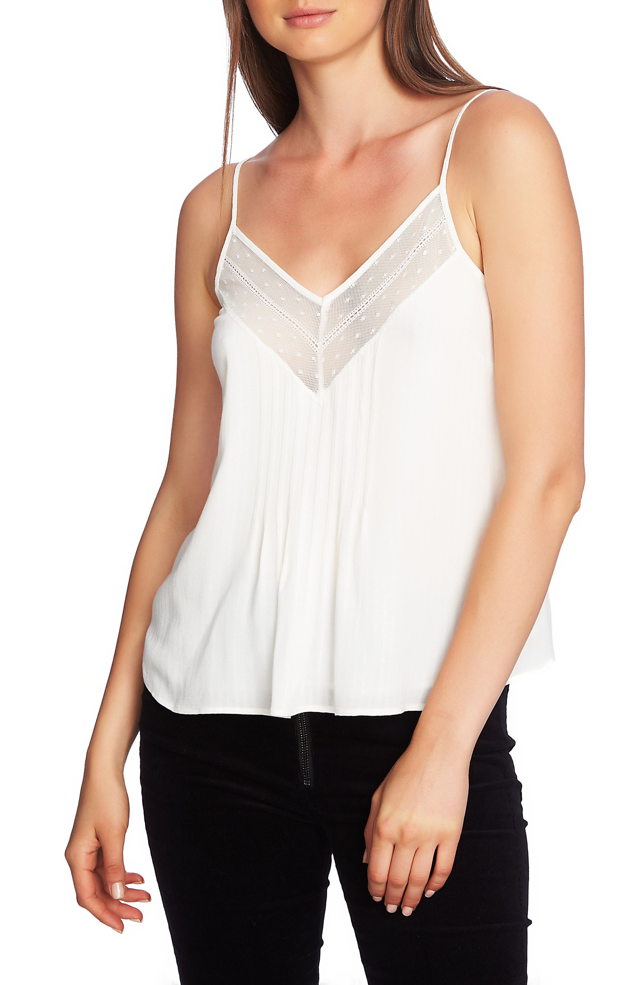 Lace Inset Camisole,                         Main,                         color, SOFT ECRU