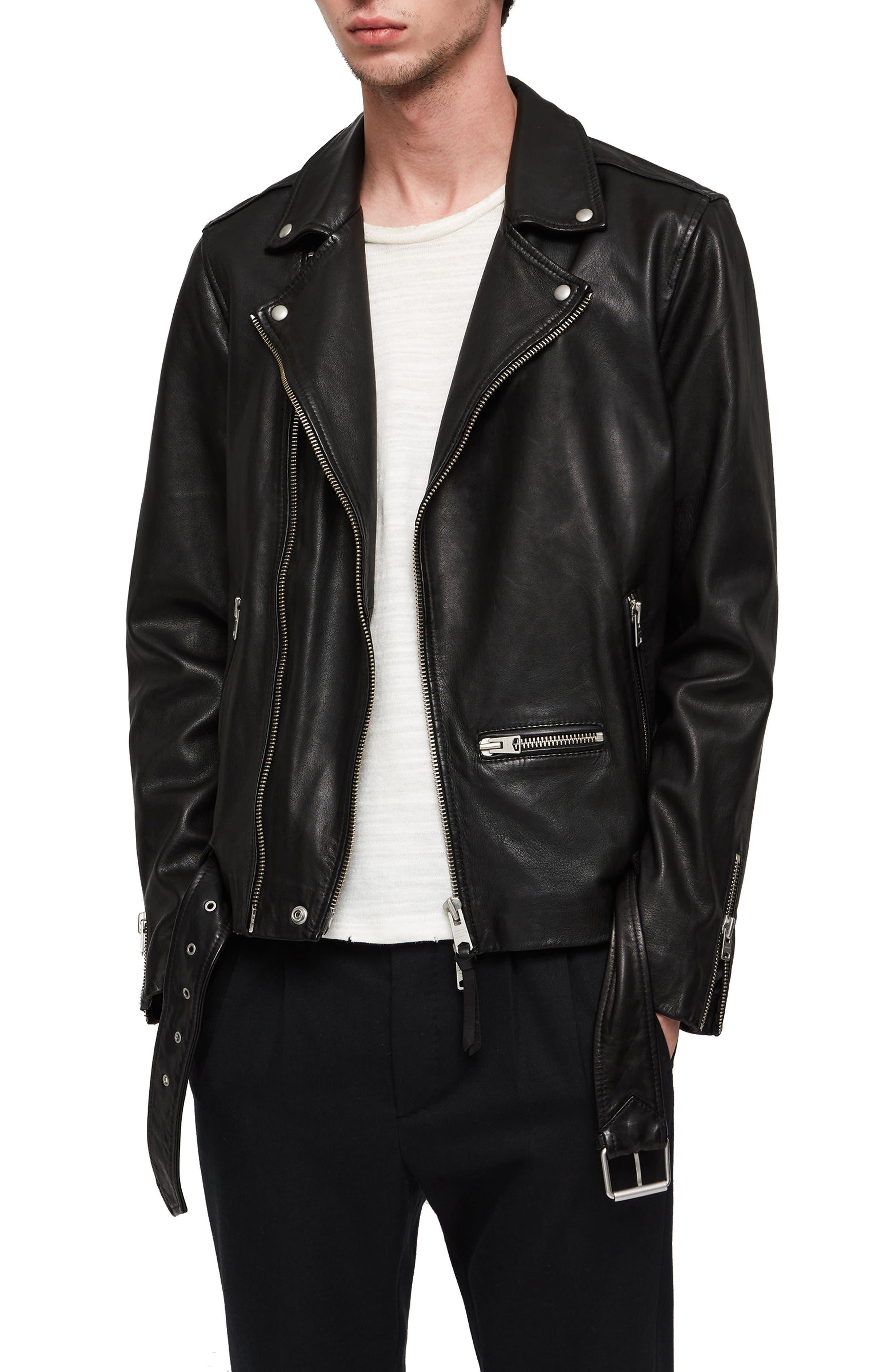 Wick Slim Fit Leather Biker Jacket,                             Main thumbnail 1, color,                             BLACK