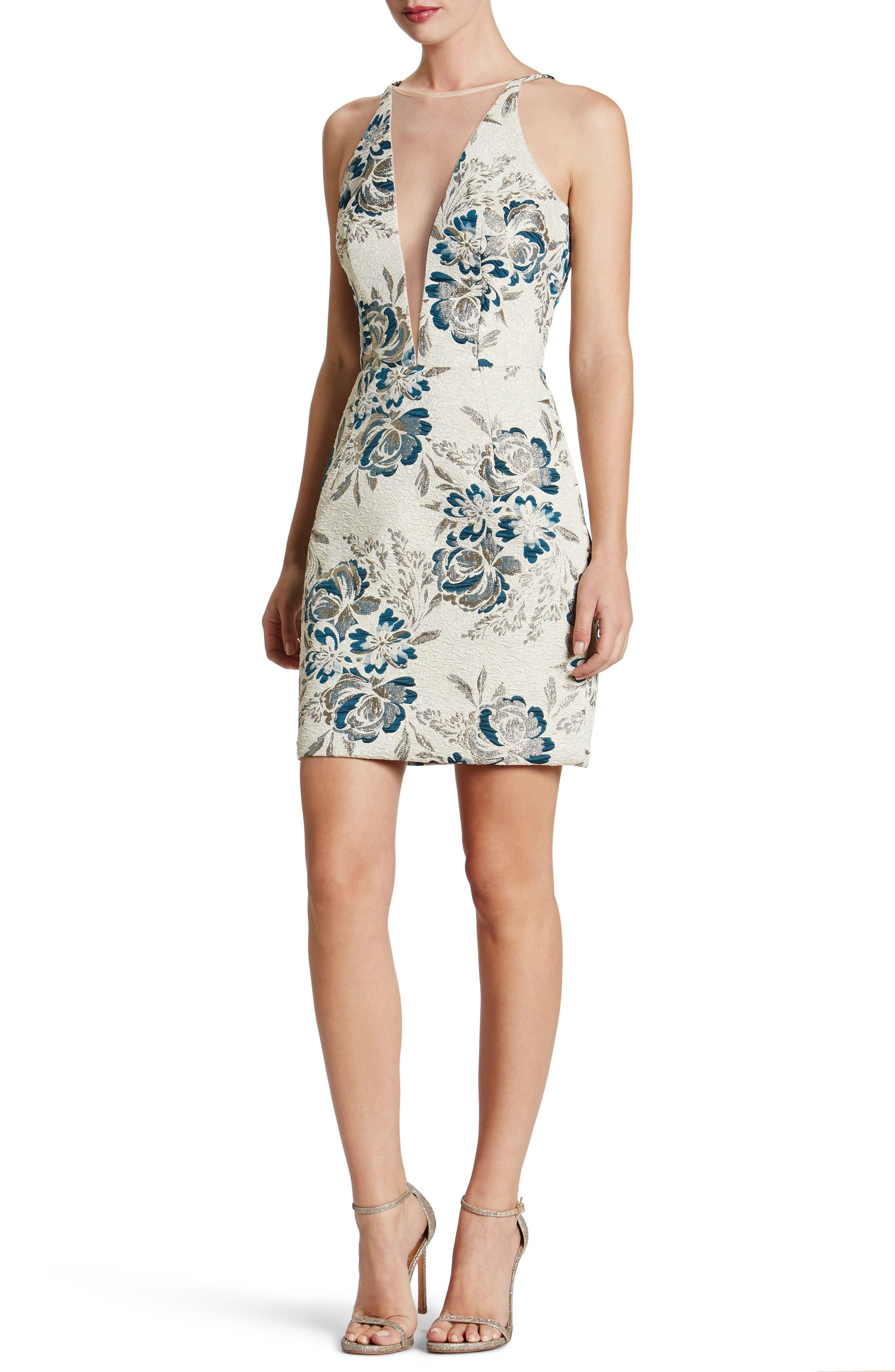 Kennedy Mesh Plunge Sheath Dress,                         Main,                         color, 426