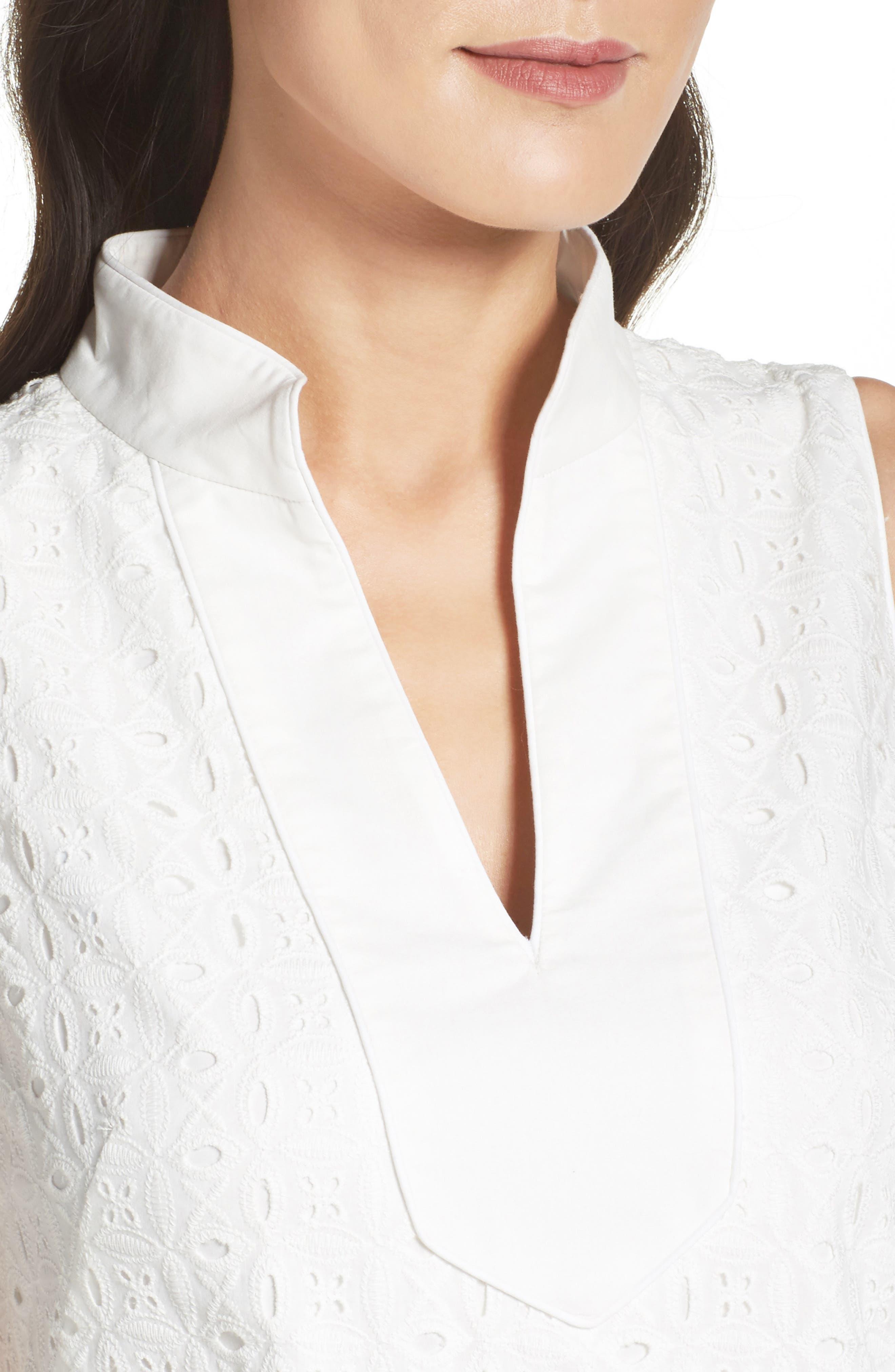 Mandarin Collar Shift Dress,                             Alternate thumbnail 4, color,                             100