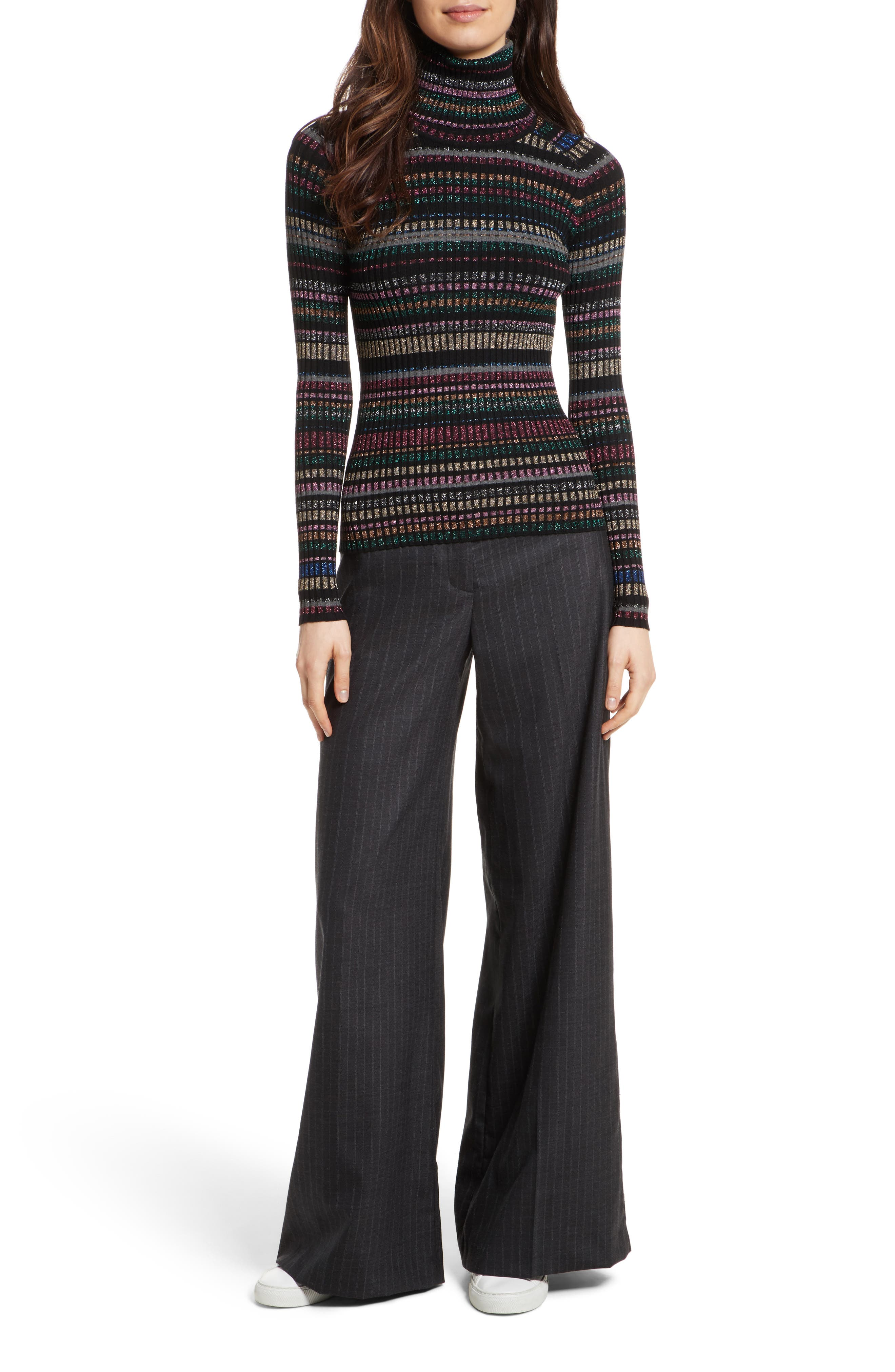 Sia Pinstripe Italian Stretch Wool Trousers,                             Alternate thumbnail 7, color,