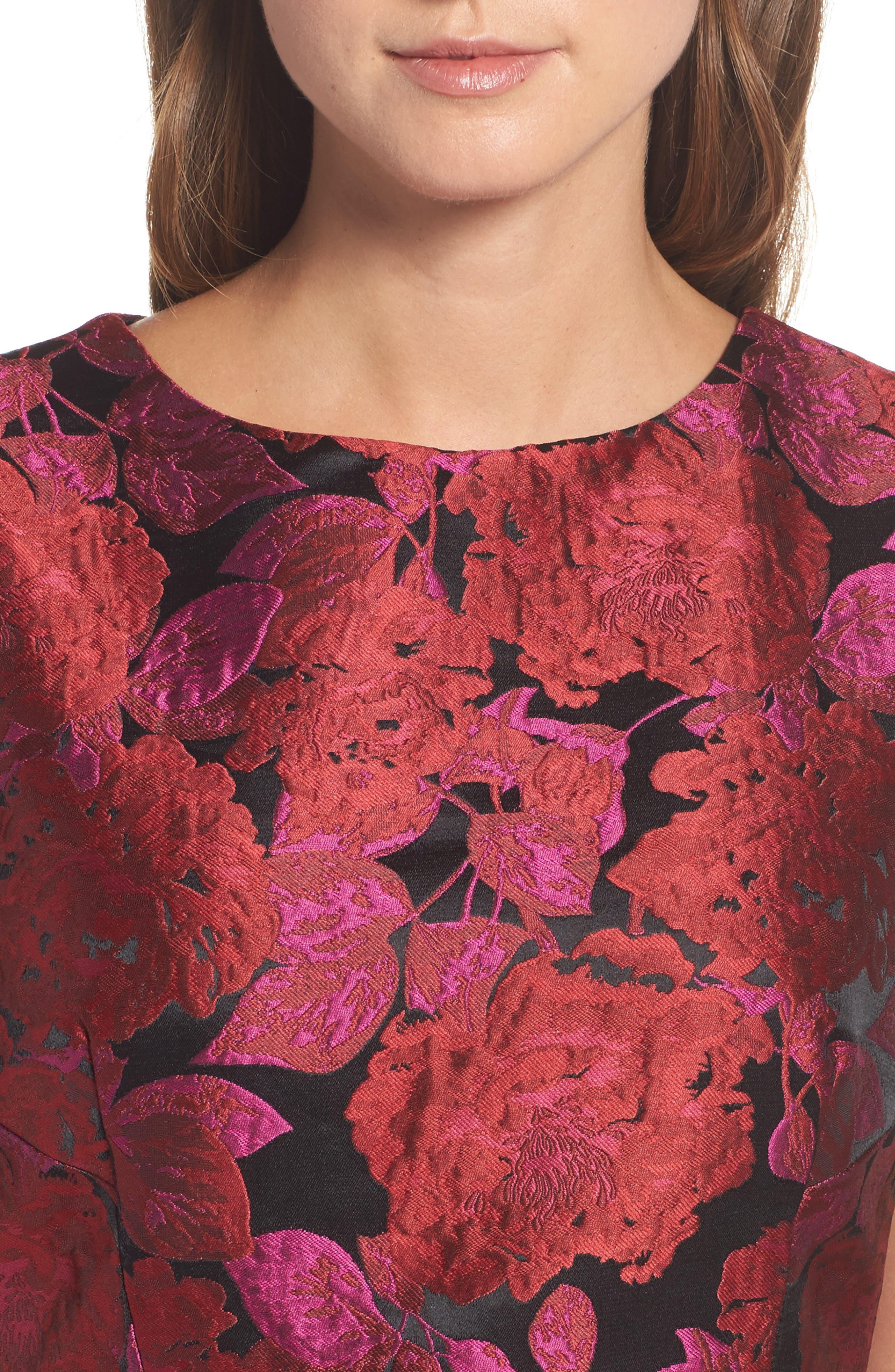 Jacquard Fit & Flare Dress,                             Alternate thumbnail 4, color,                             635