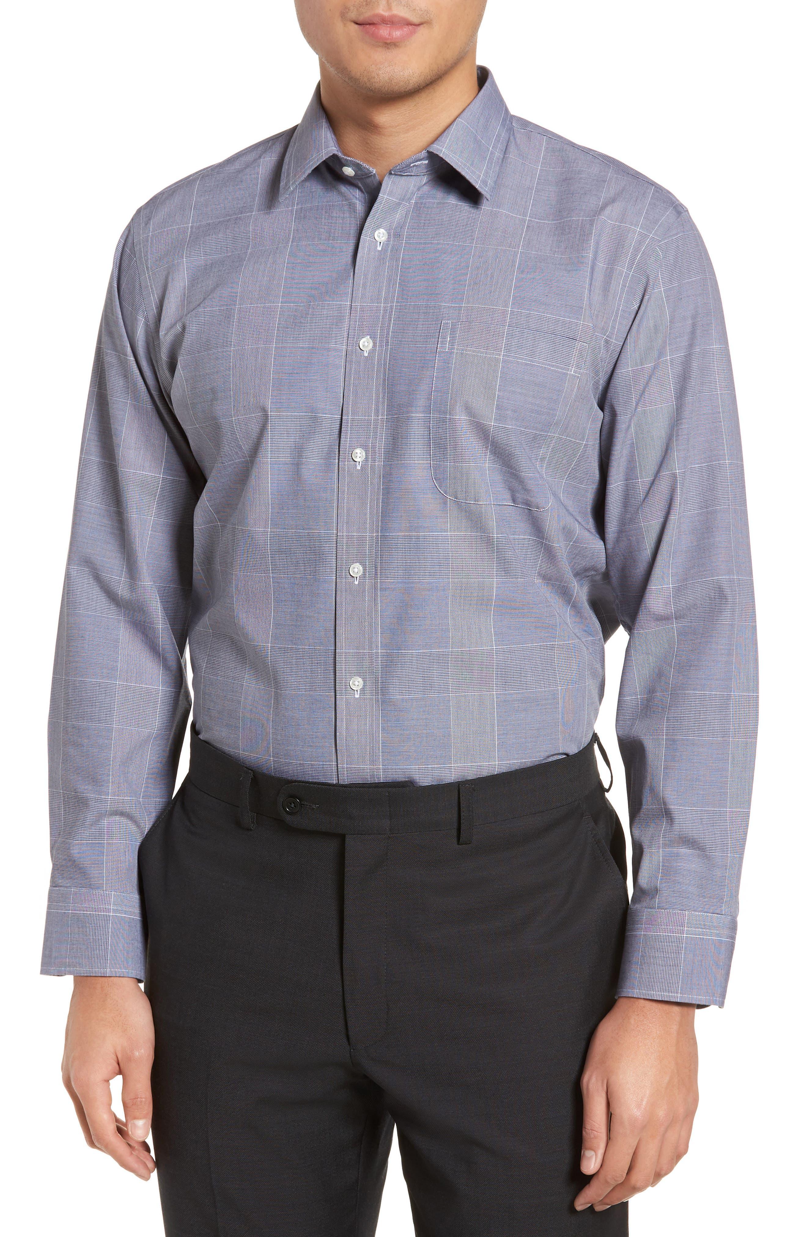 Smartcare<sup>™</sup> Trim Fit Plaid Dress Shirt,                             Main thumbnail 1, color,                             410