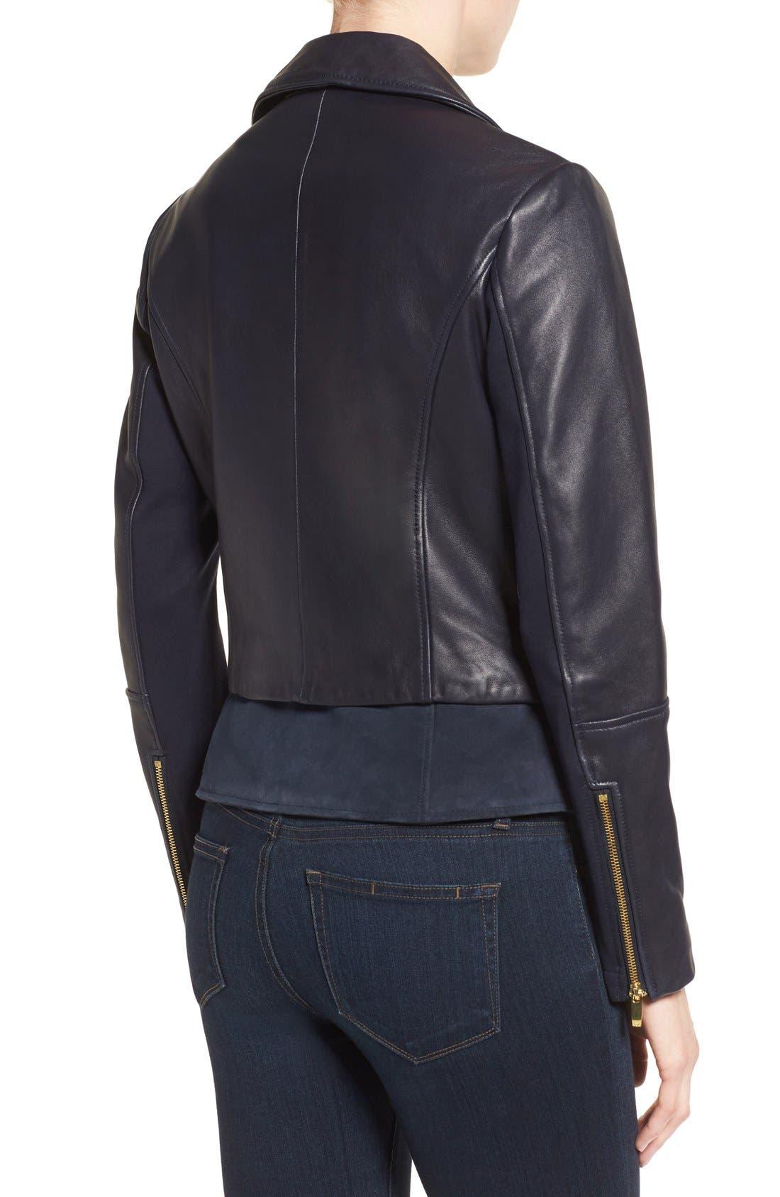Mixed Media Leather Moto Jacket,                             Alternate thumbnail 6, color,