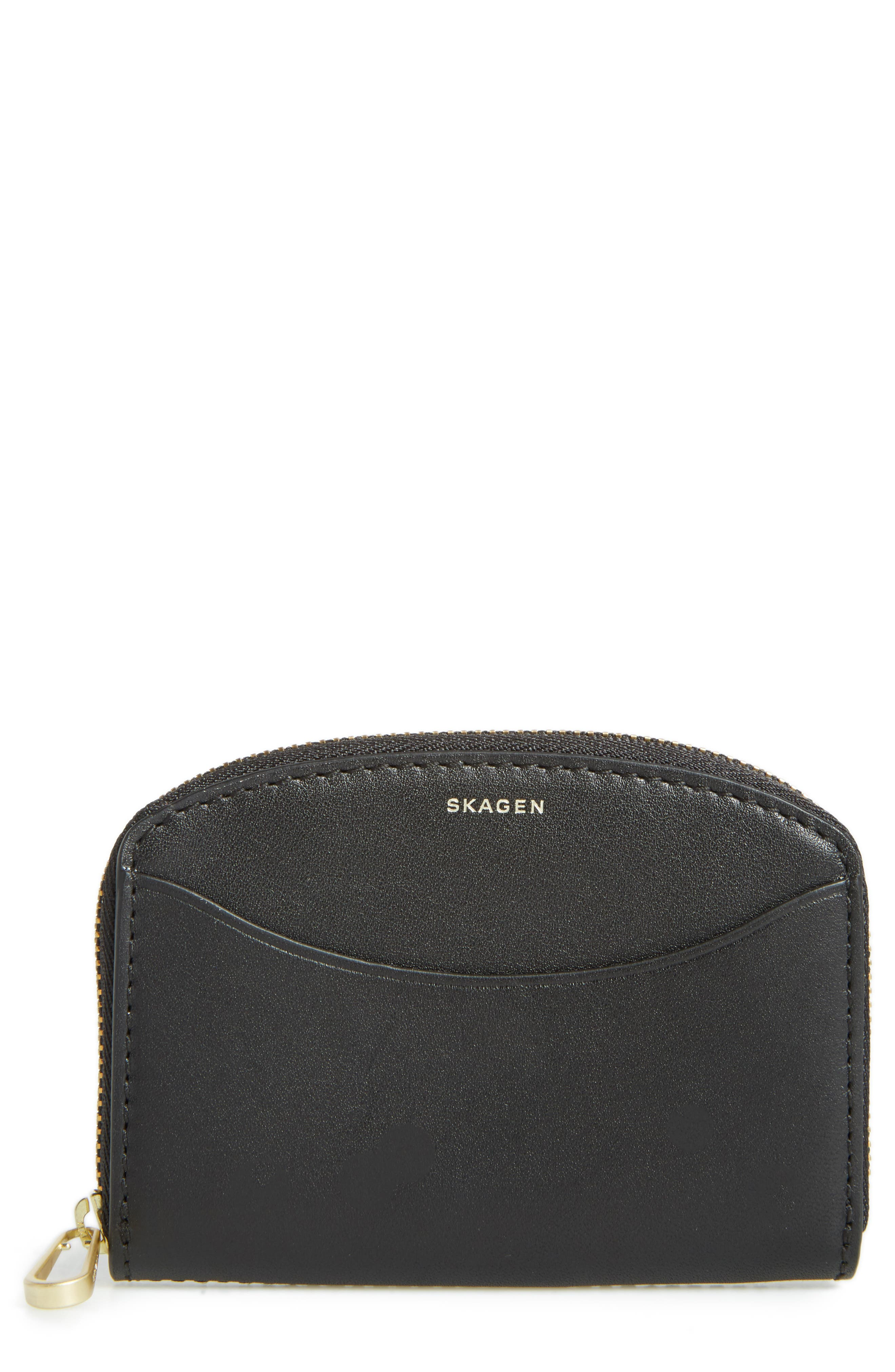Zip Leather Coin Wallet,                         Main,                         color, 001