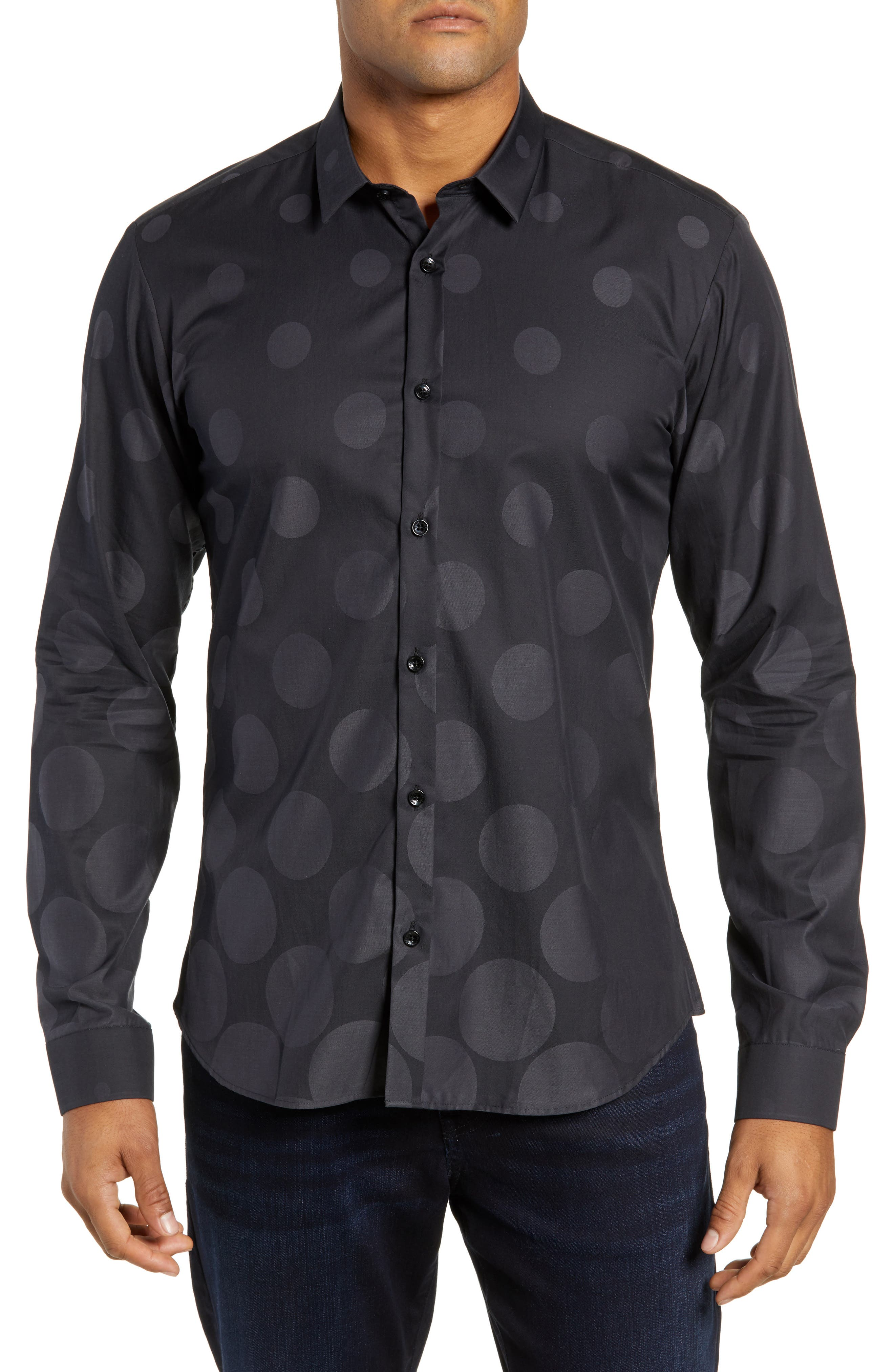 Print Sport Shirt,                             Main thumbnail 1, color,                             BLACK GRADUATED POLKA DOT