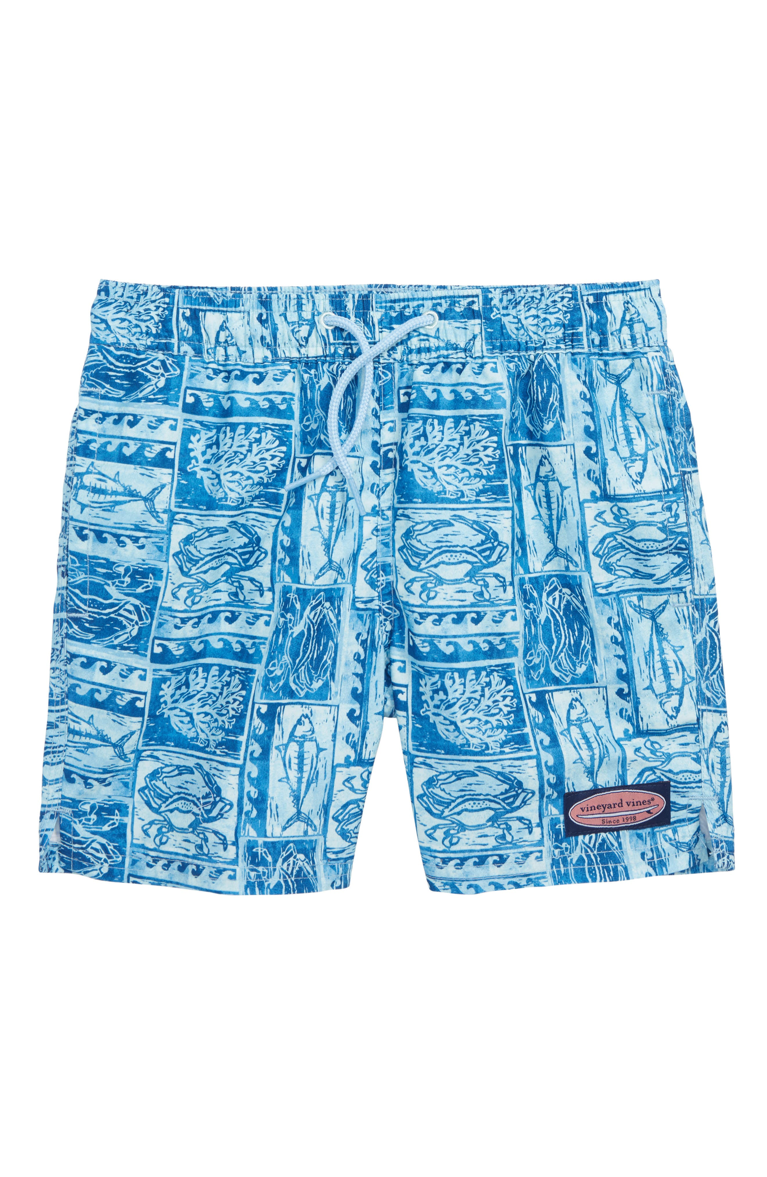 Woodblock Sea Life Chappy Swim Trunks,                         Main,                         color, JAKE BLUE