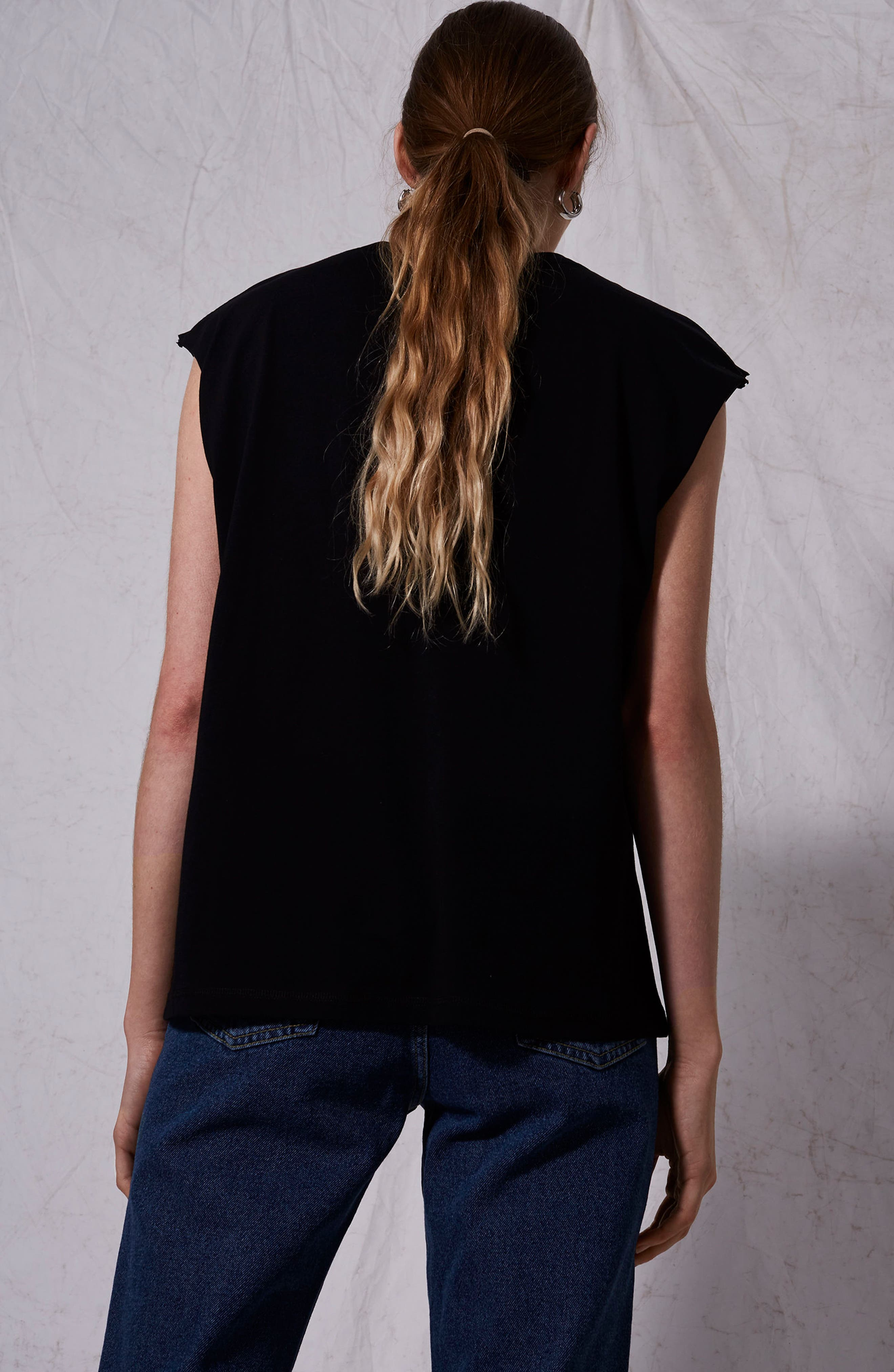 Raw Sleeve Top,                             Alternate thumbnail 5, color,                             001