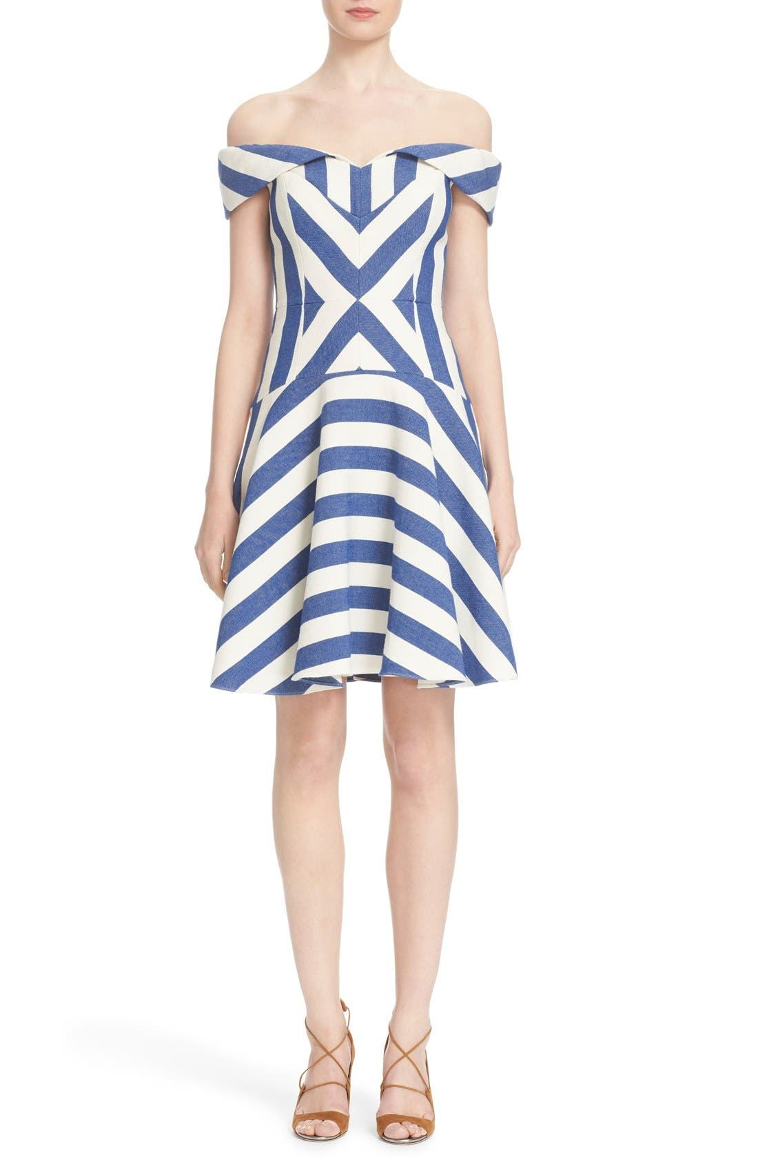 'Mariella' Stripe Off the Shoulder Fit & Flare Dress,                             Main thumbnail 1, color,                             420