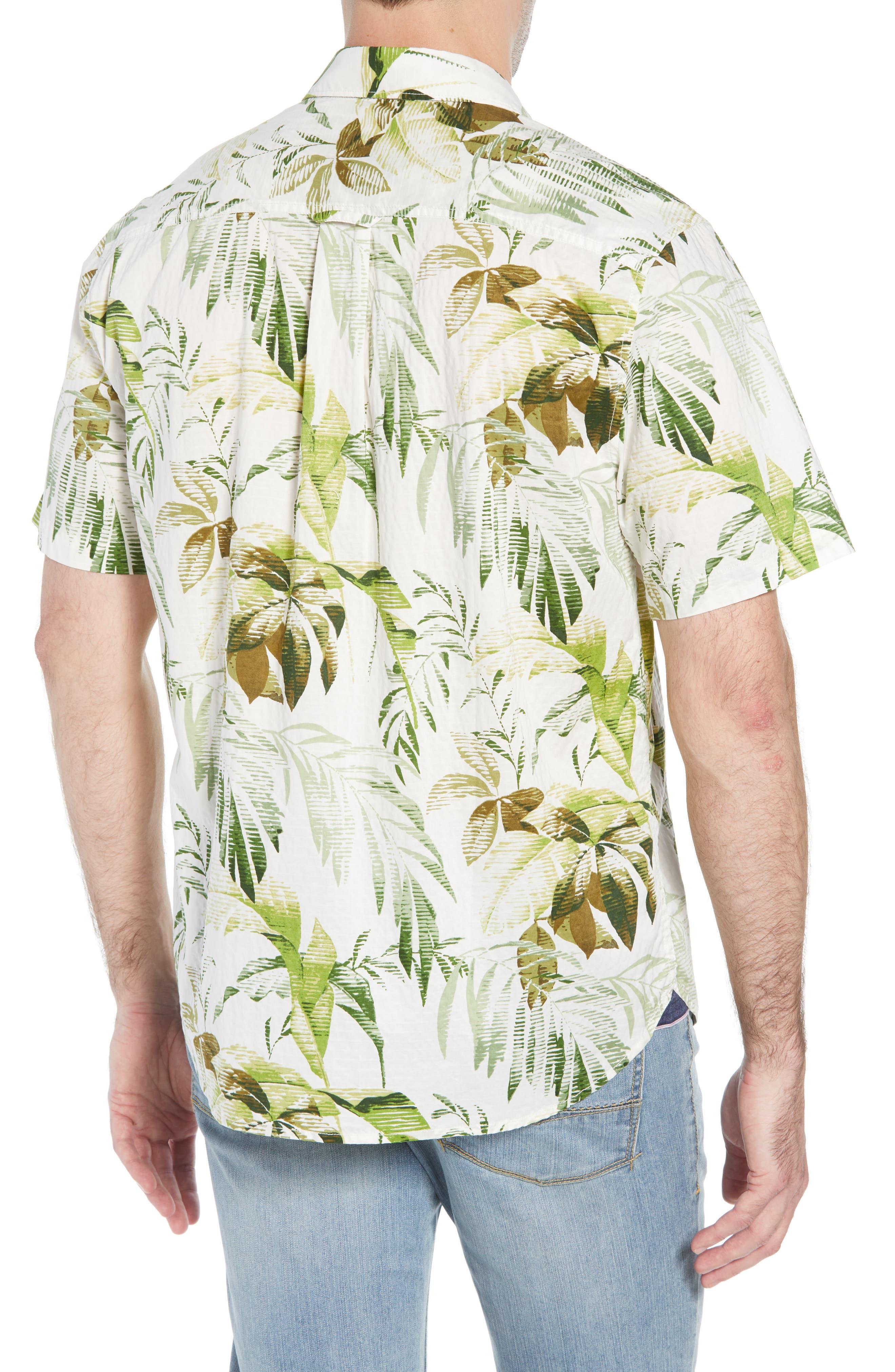 Don't Leaf Me Now Regular Fit Tropical Print Sport Shirt,                             Alternate thumbnail 3, color,                             COCONUT CREAM