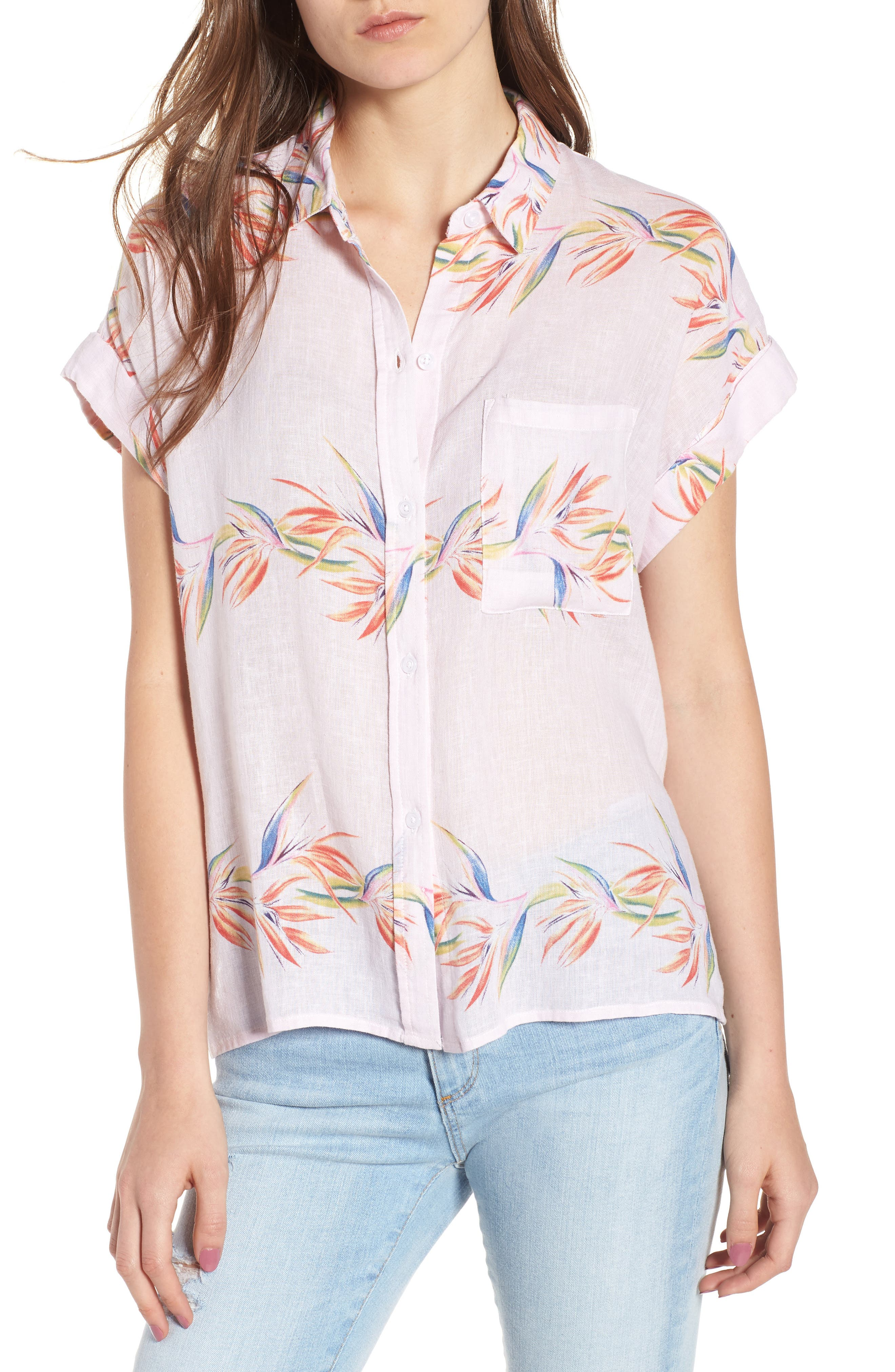 Whitney Print Shirt,                         Main,                         color, BLUSH BIRDS OF PARADISE