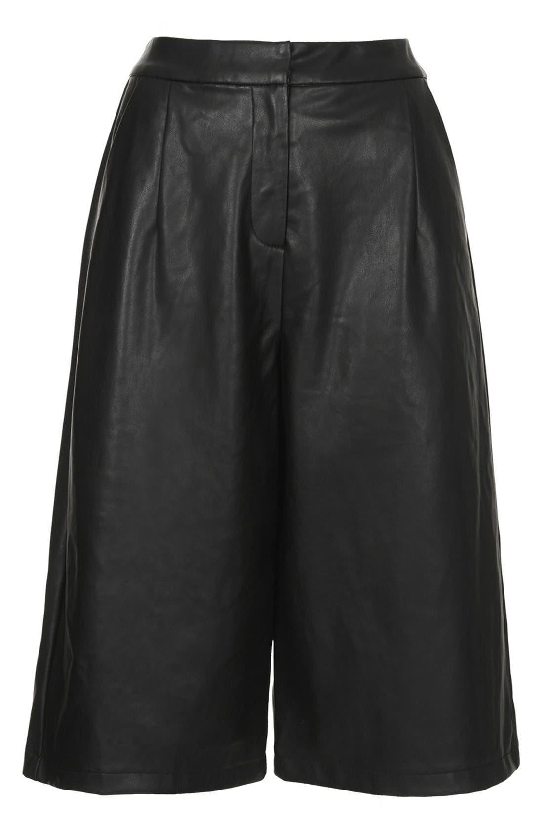 Faux Leather Culottes,                             Alternate thumbnail 3, color,                             001