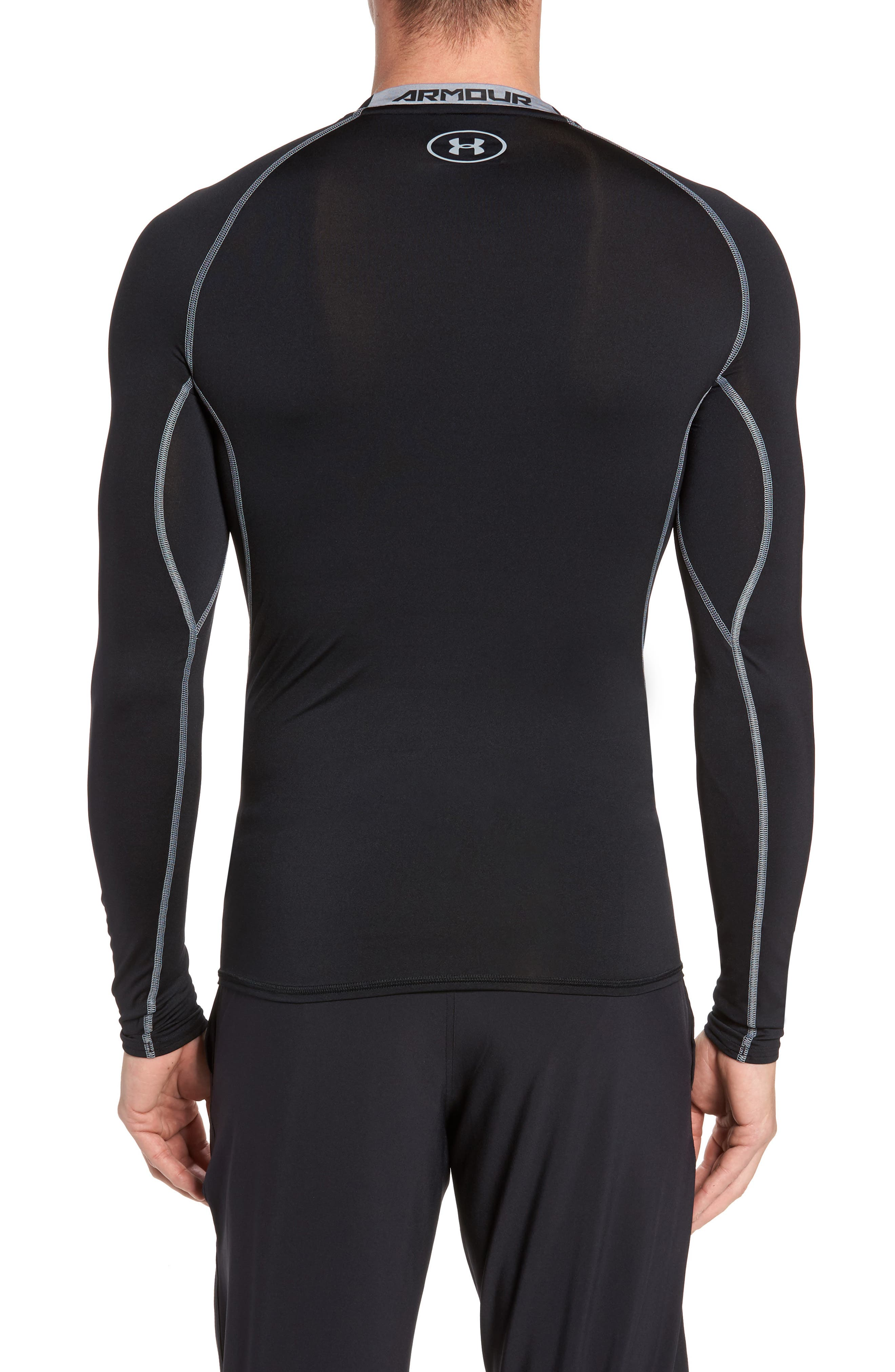 HeatGear<sup>®</sup> Compression Fit Long Sleeve T-Shirt,                             Alternate thumbnail 3, color,                             BLACK/ STEEL