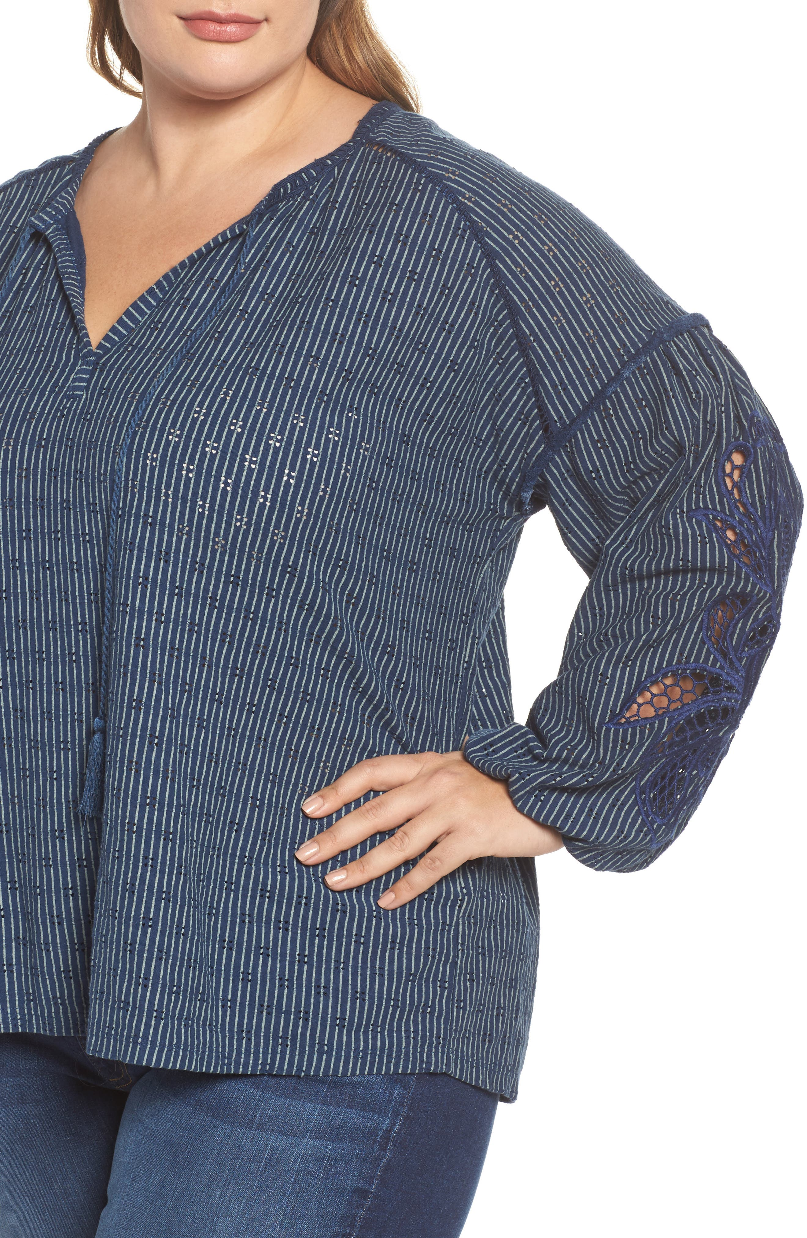 Embroidered Peasant Top,                             Alternate thumbnail 4, color,                             460