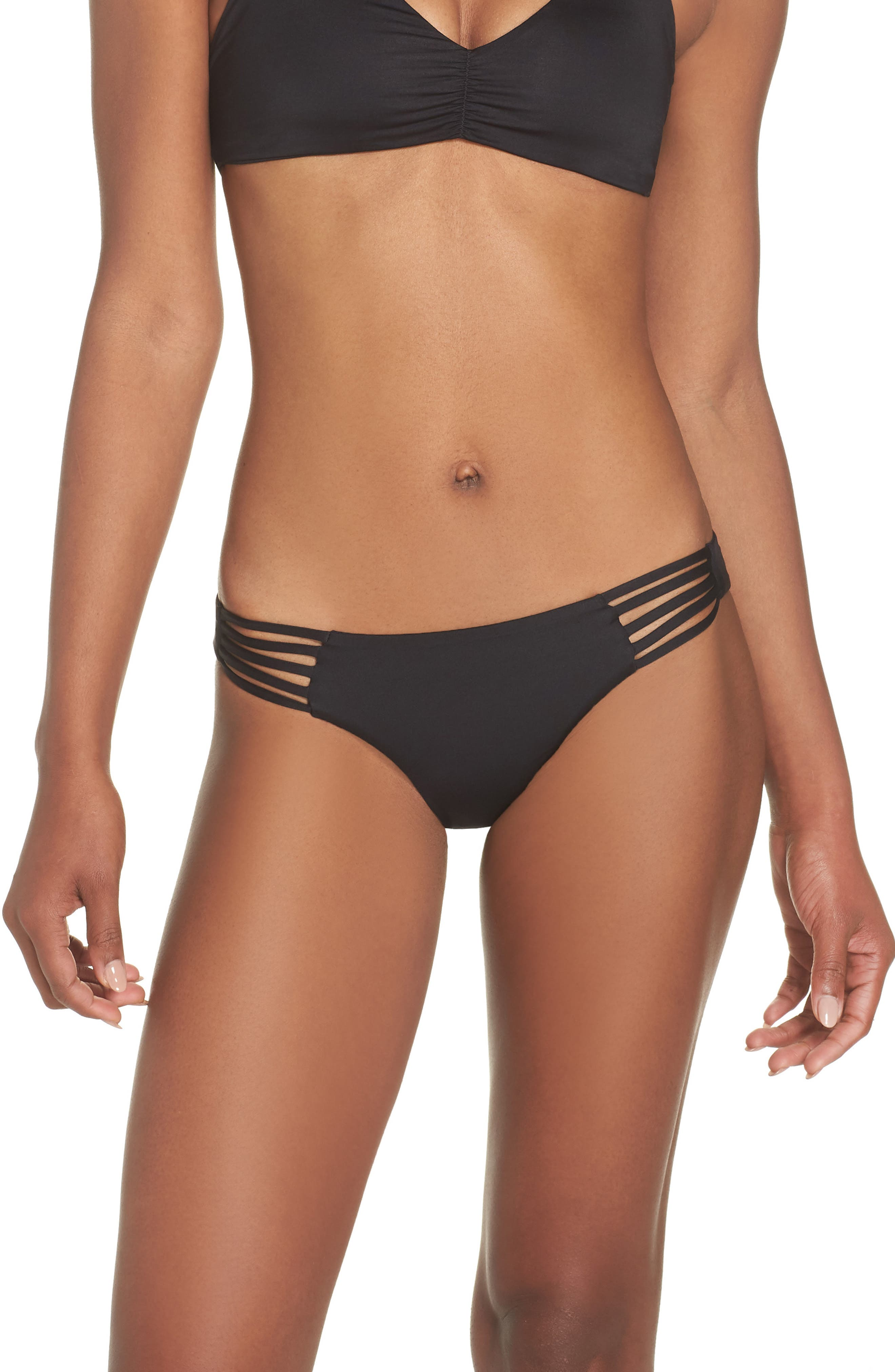 Seaglass Bay Reversible Bikini Bottoms,                             Main thumbnail 1, color,                             BLACK