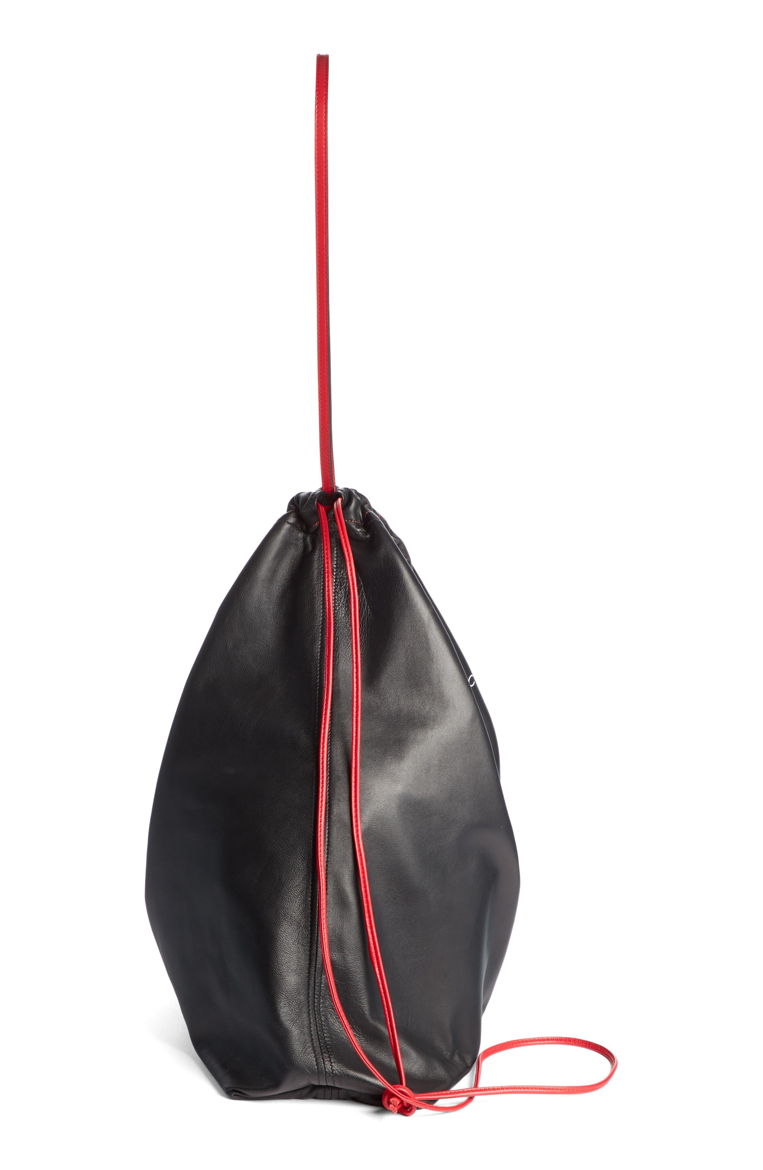 VICTORIA BECKHAM,                             36 Dover St Lambskin Leather Drawstring Bag,                             Alternate thumbnail 4, color,                             BLACK