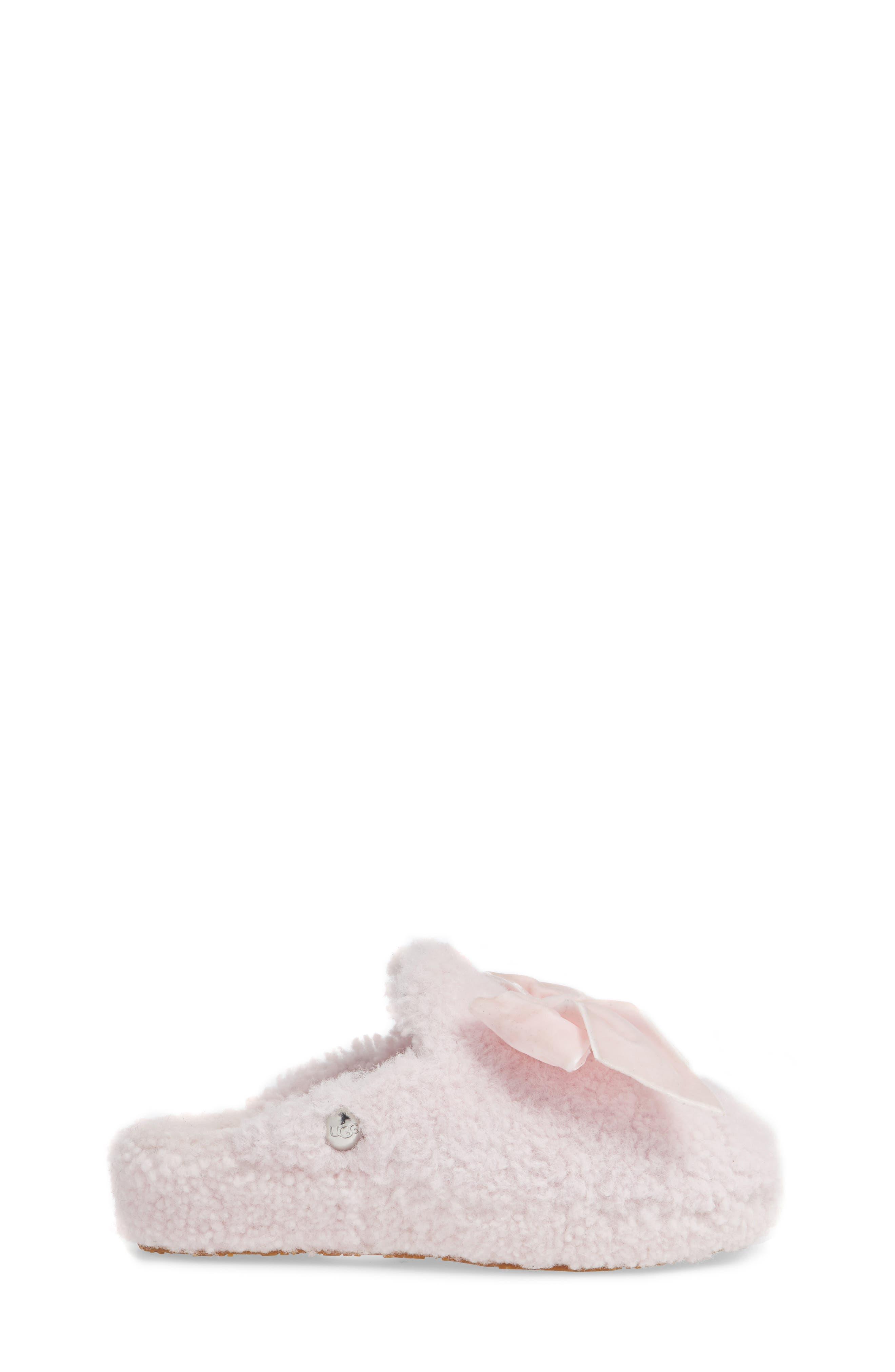 Addison Velvet Bow Genuine Shearling Slipper,                             Alternate thumbnail 3, color,                             SEASHELL PINK