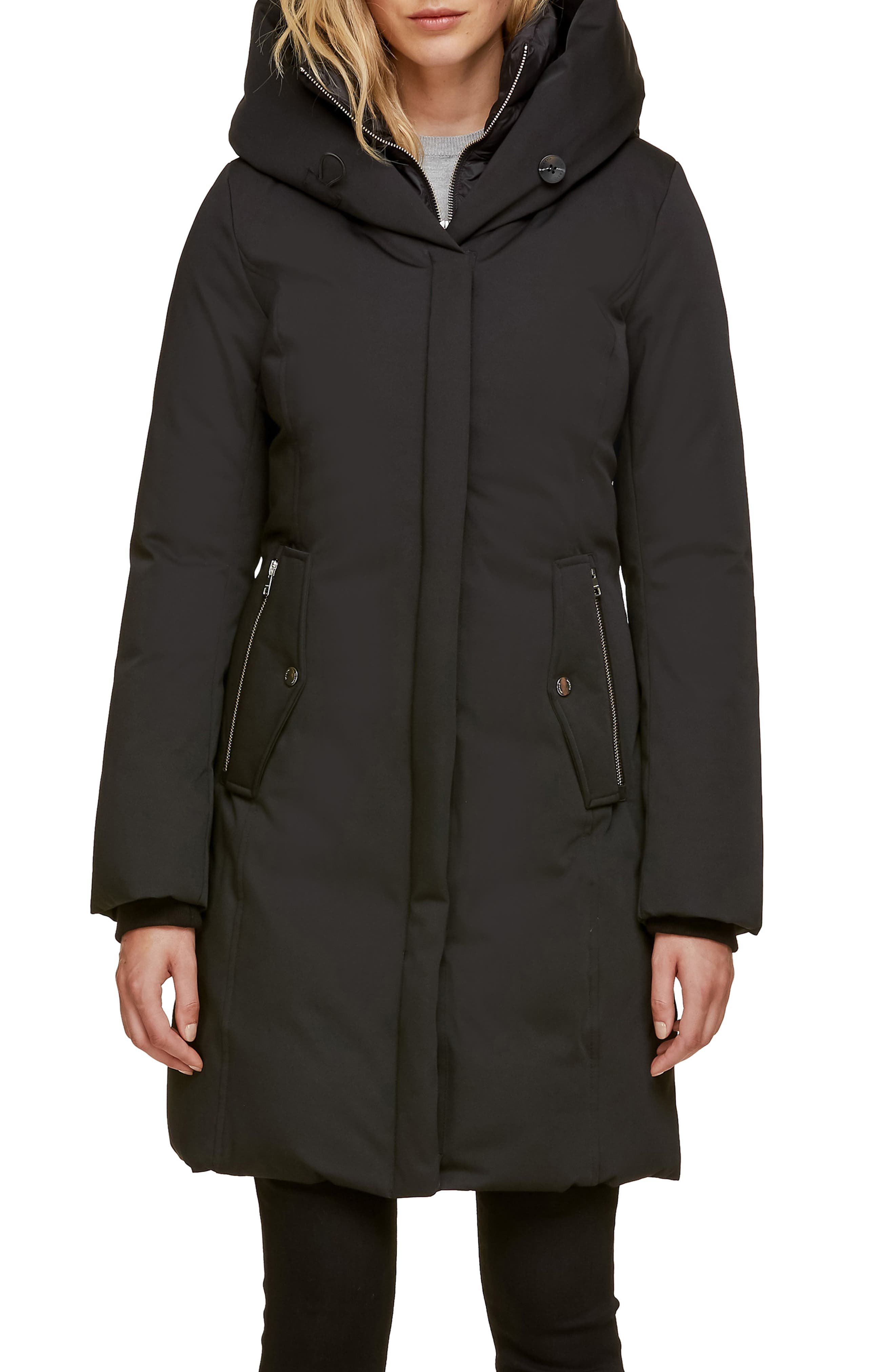 Soia & Kyo Slim Fit Hooded Down Coat, Black