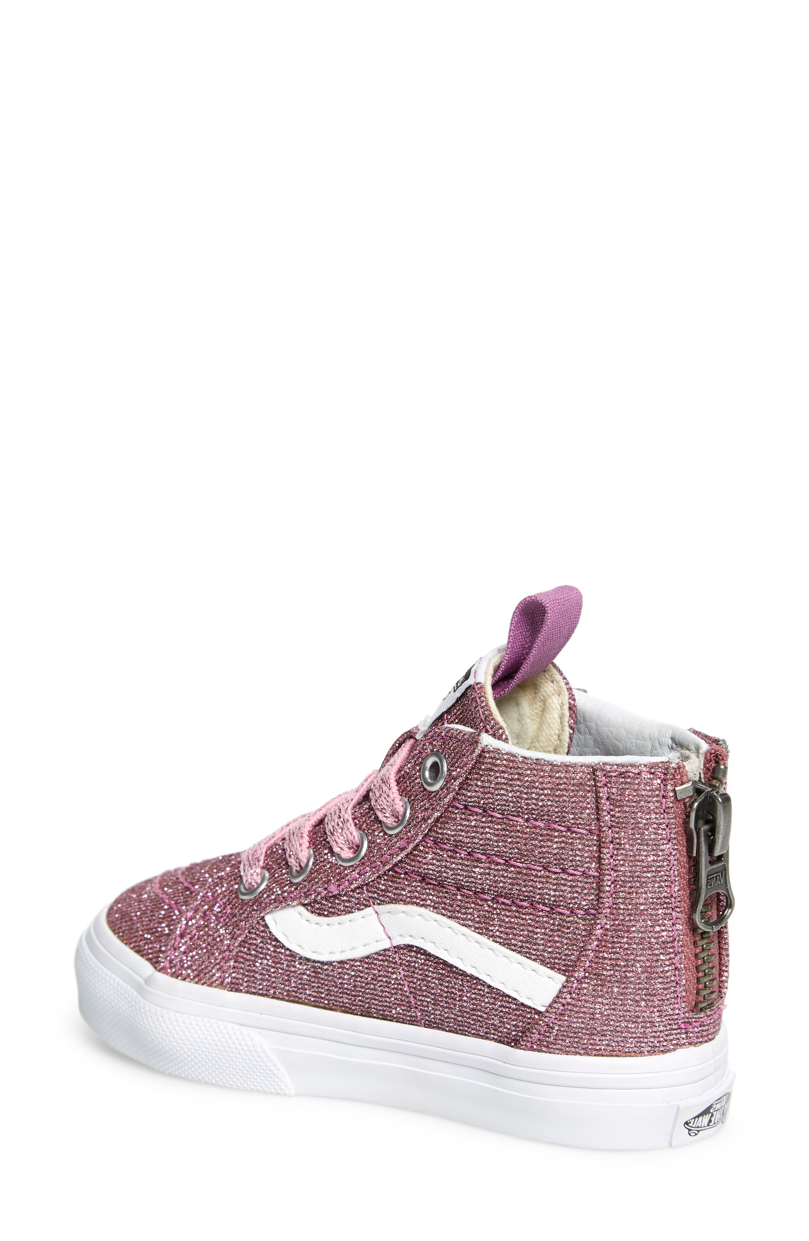 Sk8-Hi Zip Sneaker,                             Alternate thumbnail 2, color,                             LUREX GLITTER PINK/ TRUE WHITE