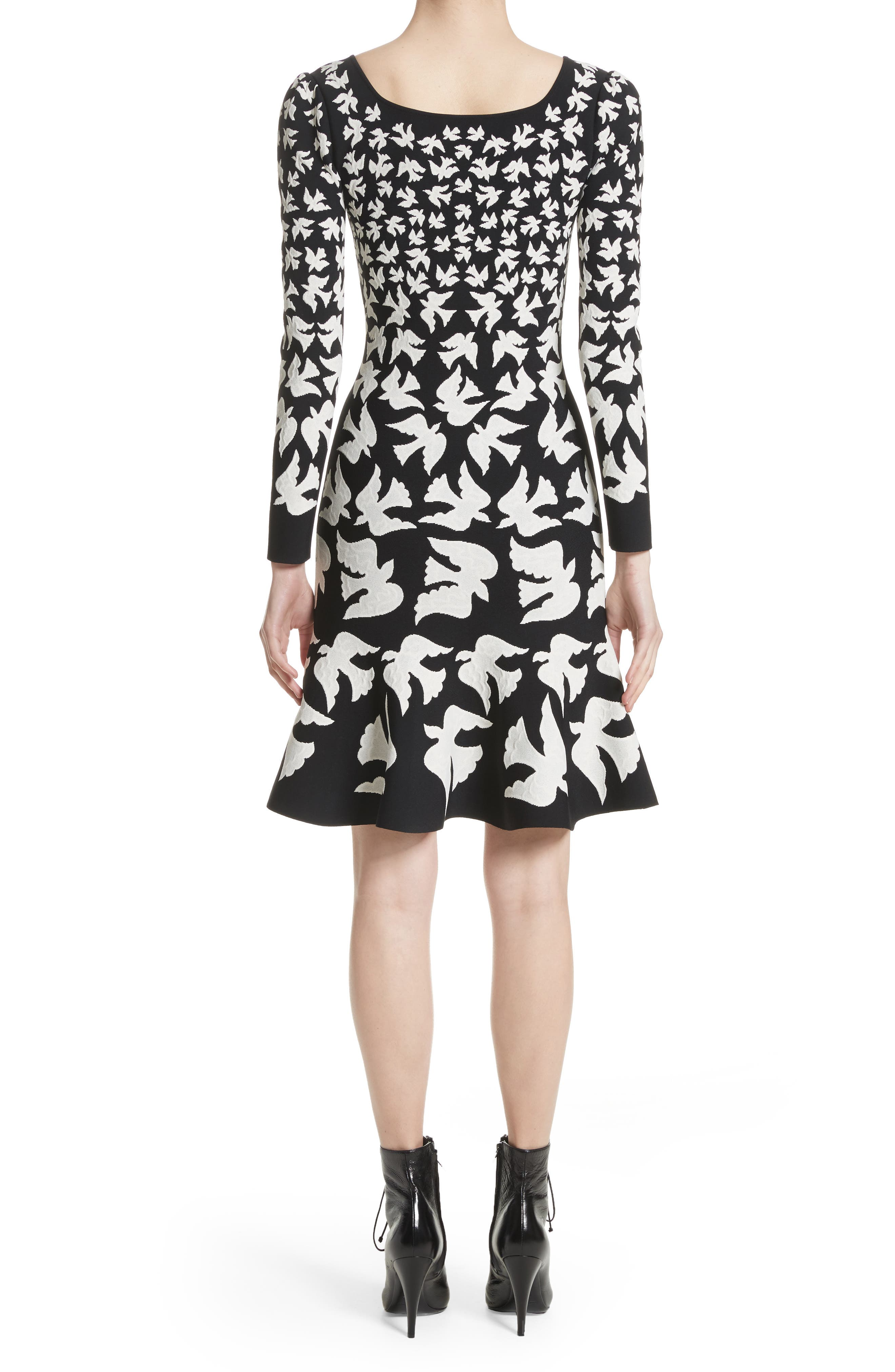 Bicolor Swallow Jacquard Dress,                             Alternate thumbnail 2, color,                             001